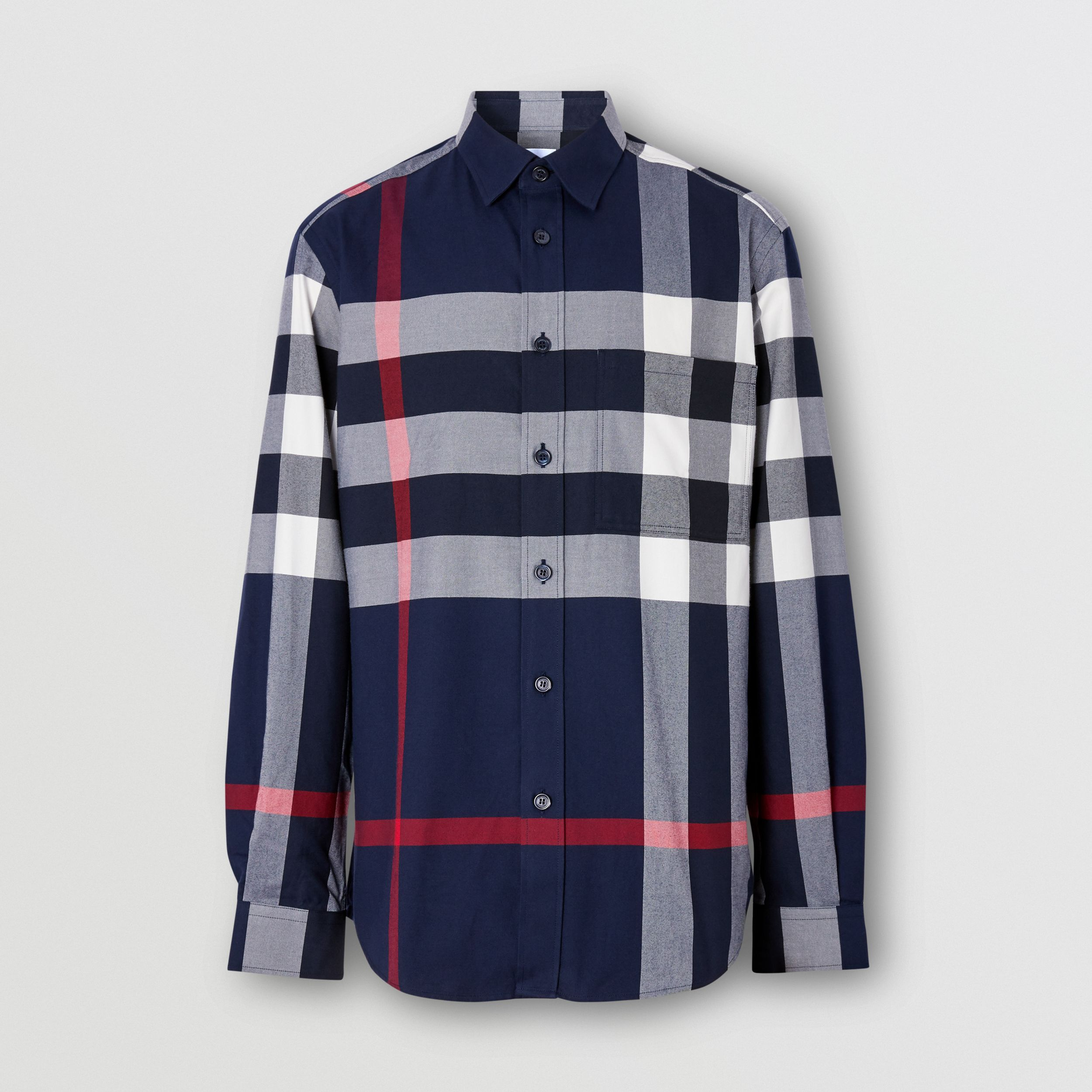 Check Cotton Flannel Shirt in Navy - Men | Burberry - 4