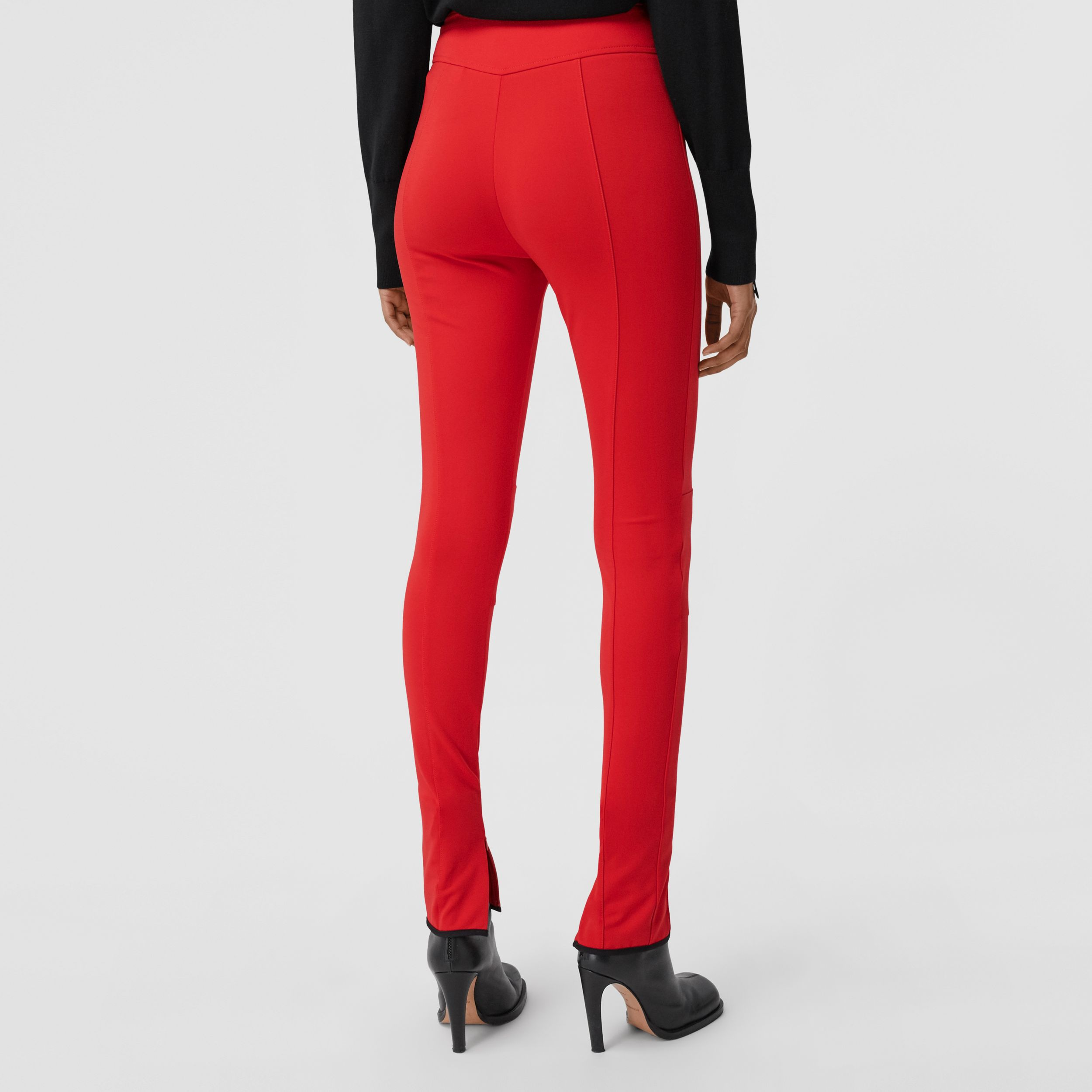 Stretch Crepe Jersey Jodhpurs in Bright Red - Women | Burberry - 3