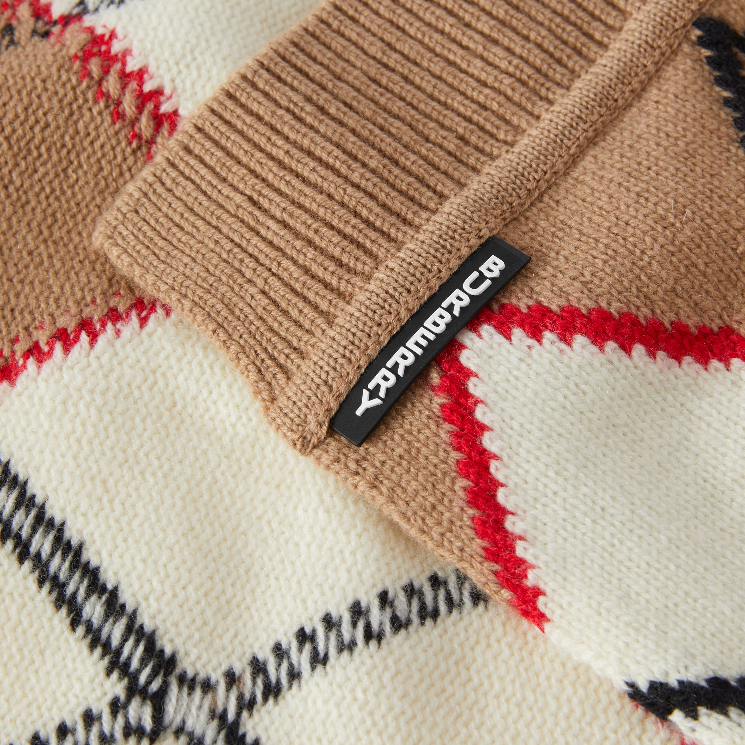 Argyle Intarsia Wool Cashmere Scarf in Camel - Children | Burberry - 2