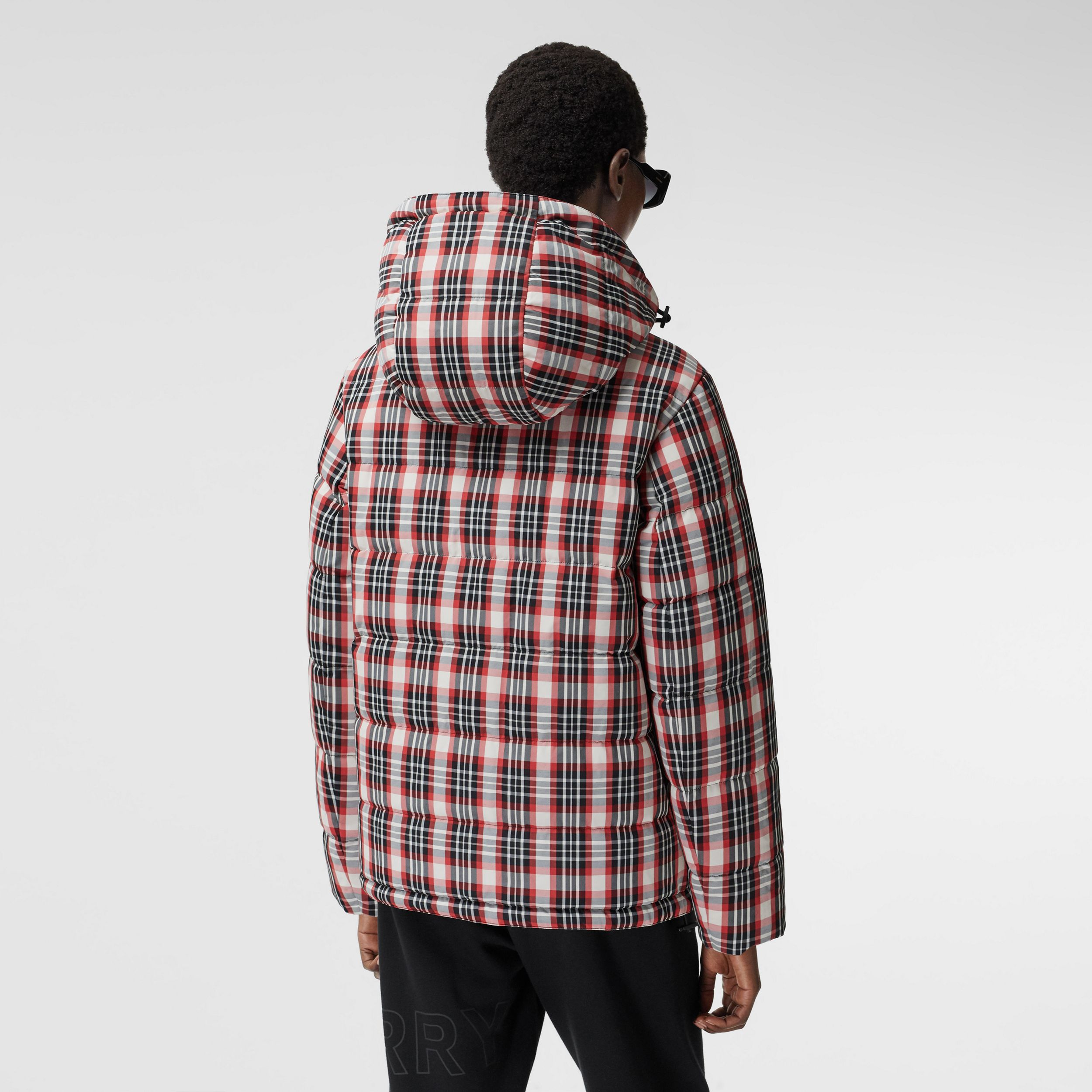 Reversible Tartan Nylon Puffer Jacket in Bright Red - Women | Burberry - 3