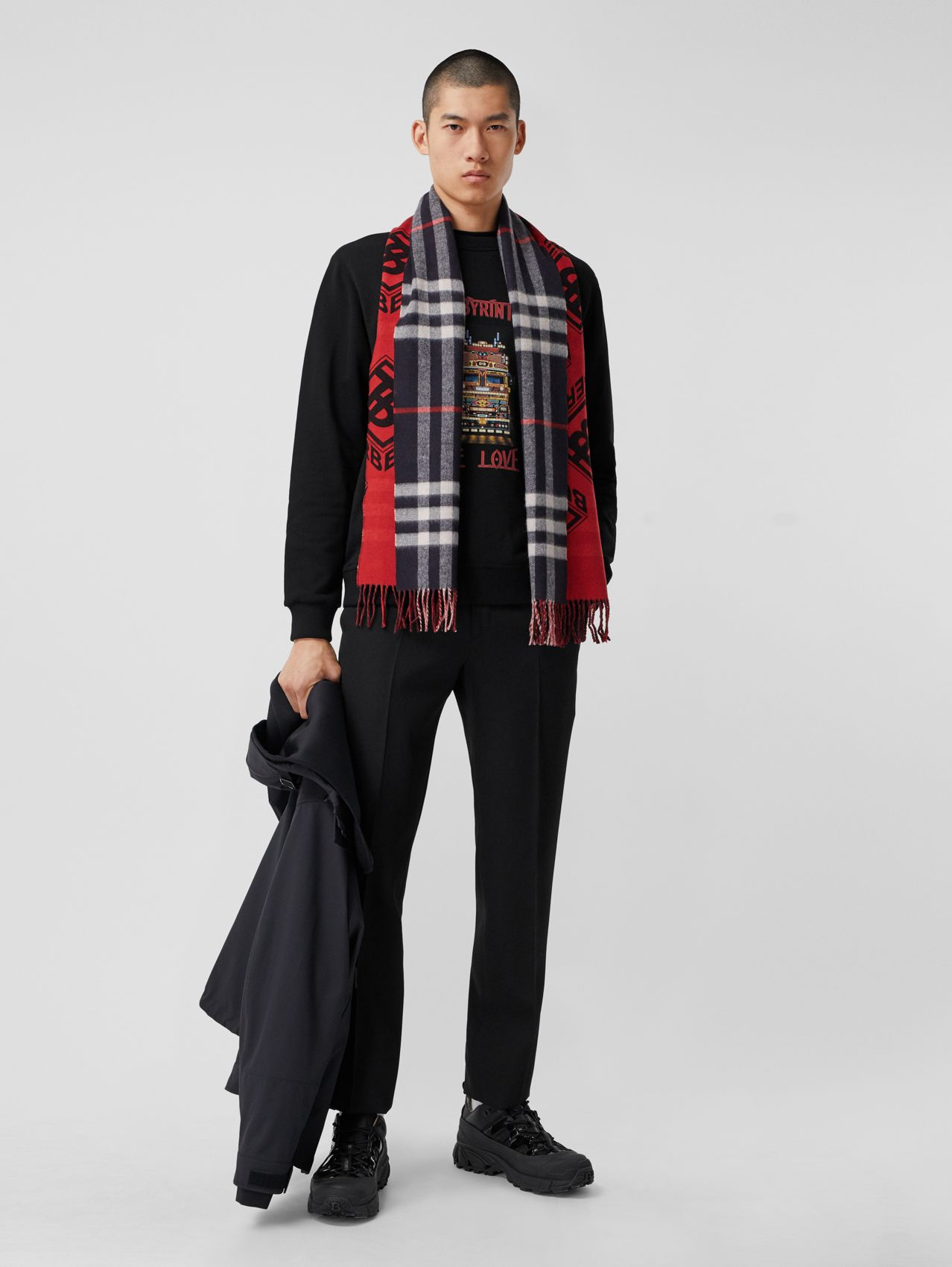 Reversible Check and Logo Graphic Cashmere Scarf in Navy/red