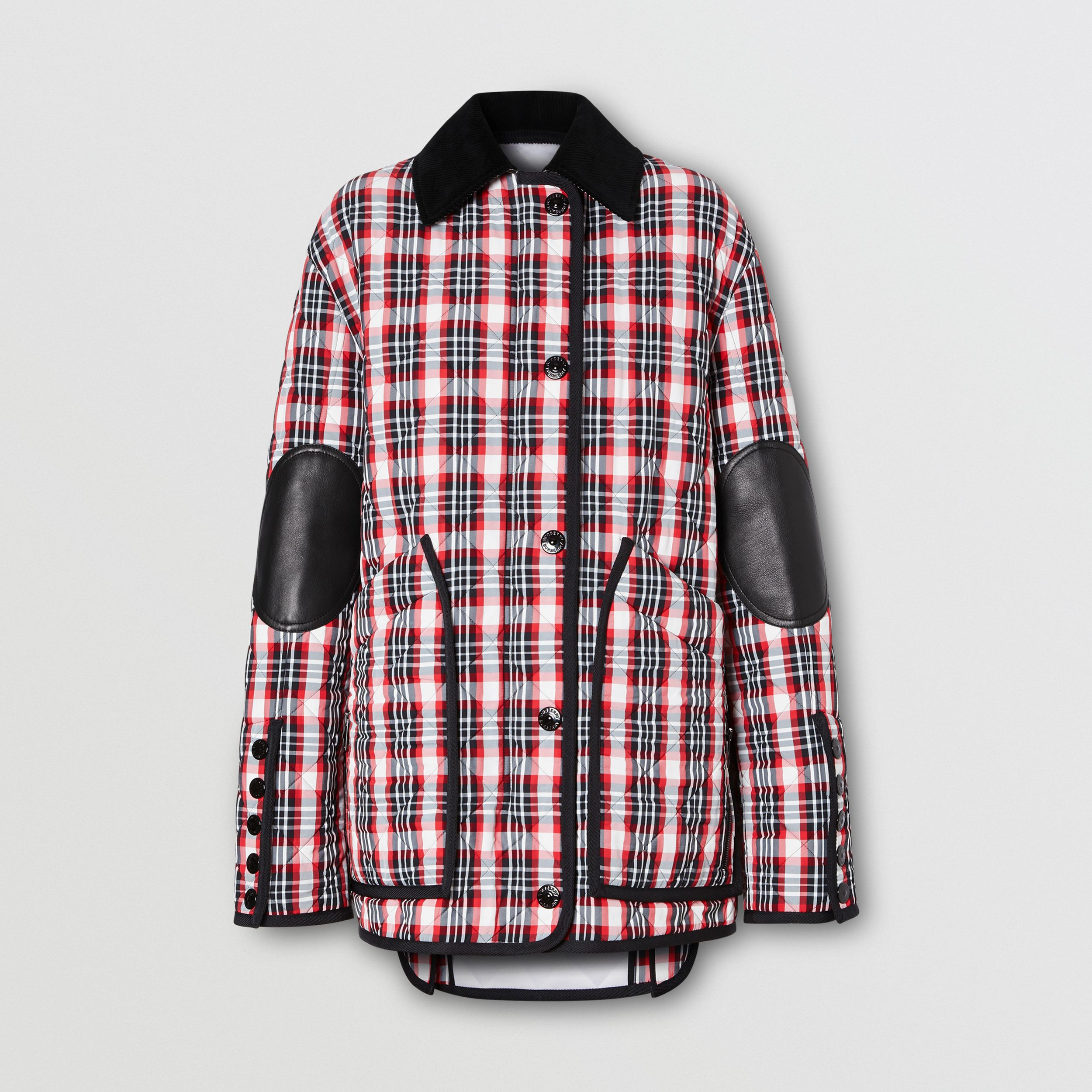 Diamond Quilted Tartan Oversized Barn Jacket in Bright Red - Women | Burberry United Kingdom - 4