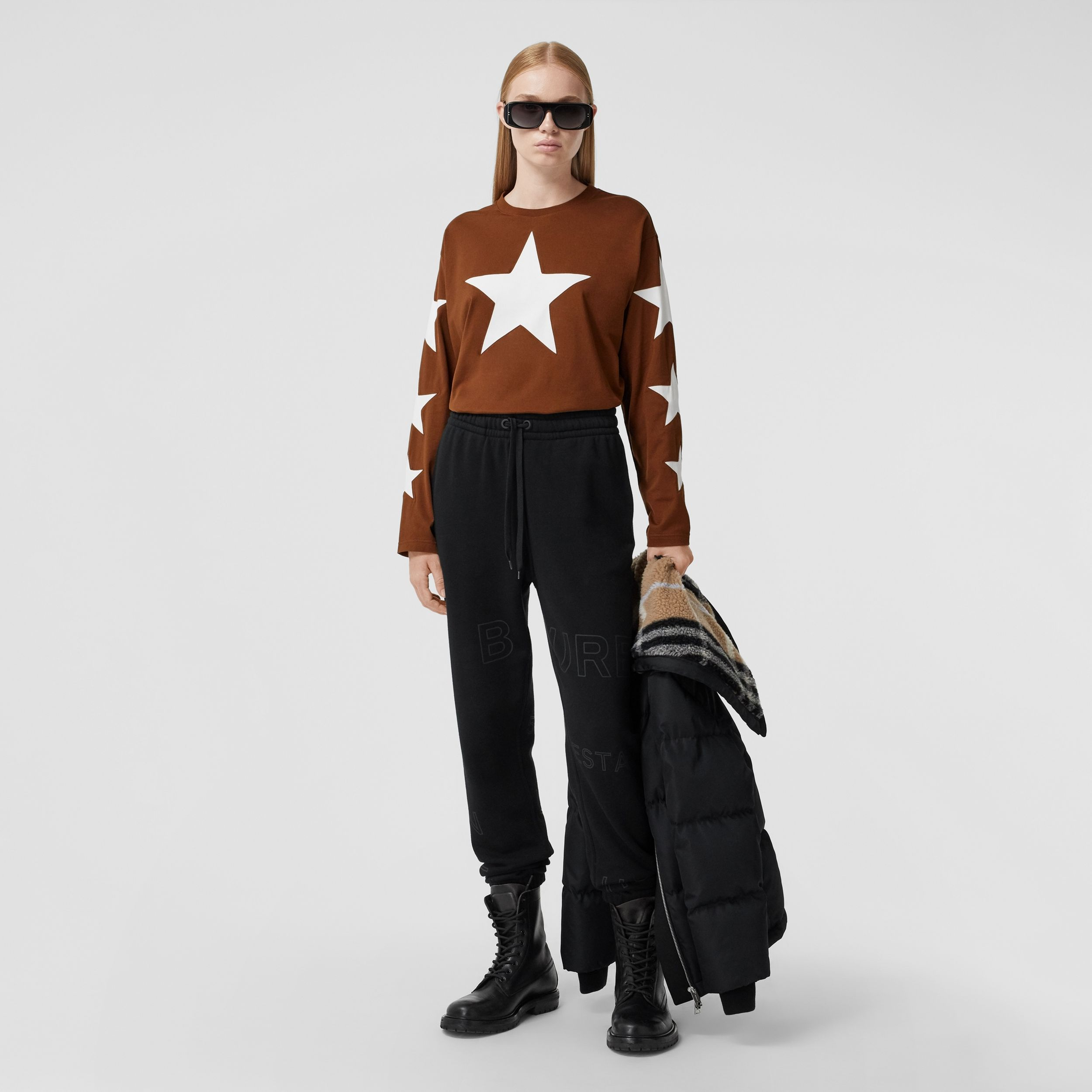 Long-sleeve Star Motif Cotton Oversized Top in Mahogany - Women | Burberry - 4
