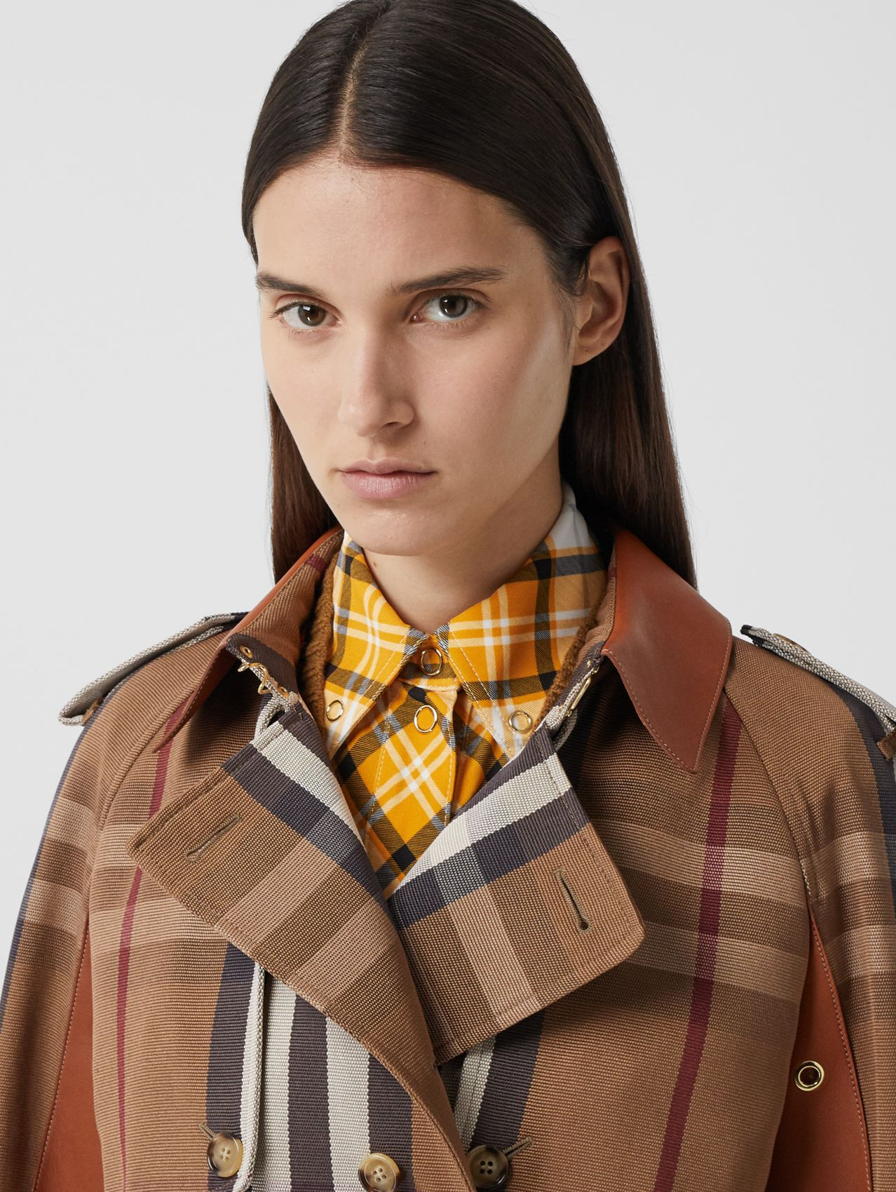 Leather Panel Check Technical Cotton Trench Coat in Birch Brown