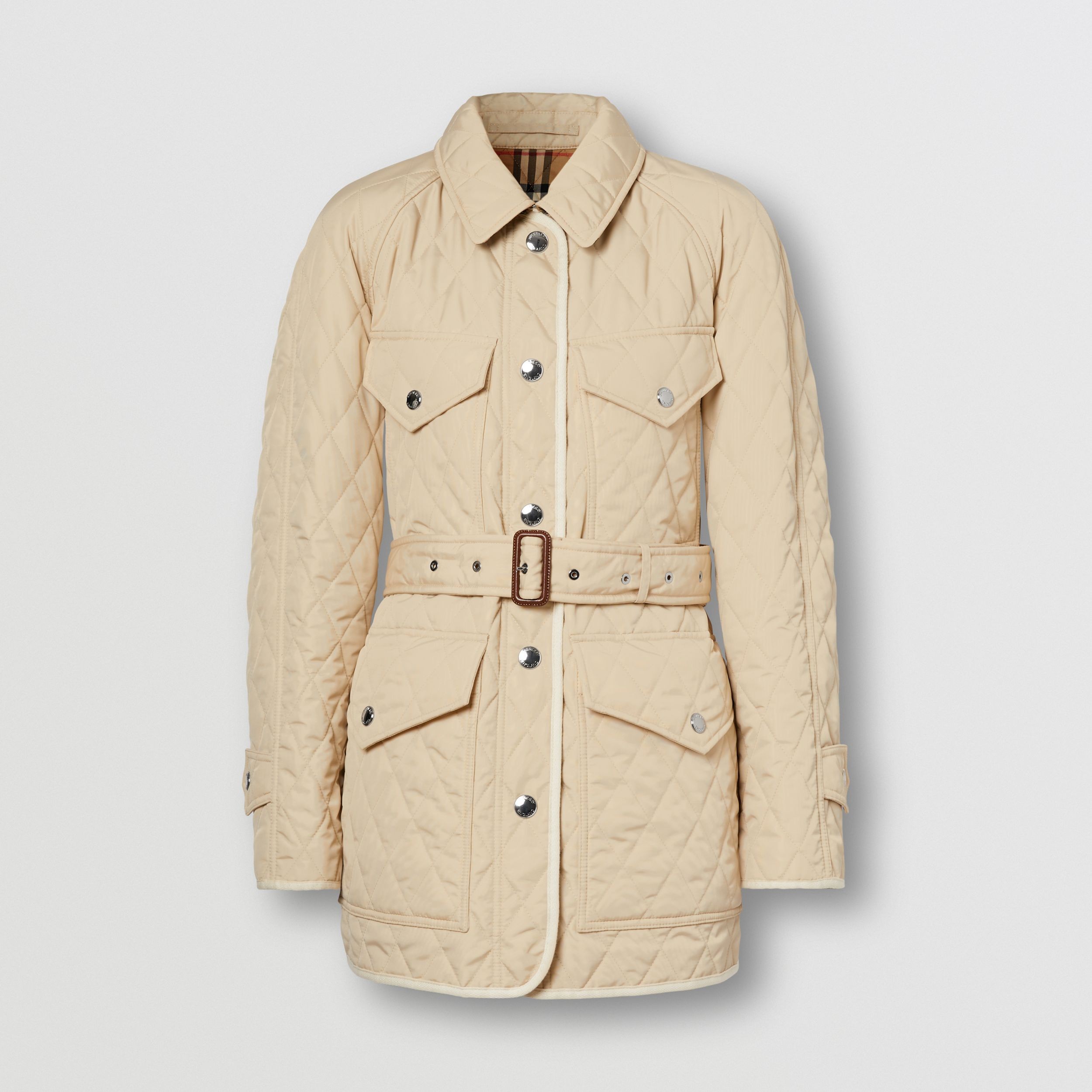 Diamond Quilted Nylon Canvas Field Jacket in Sesame - Women | Burberry - 4