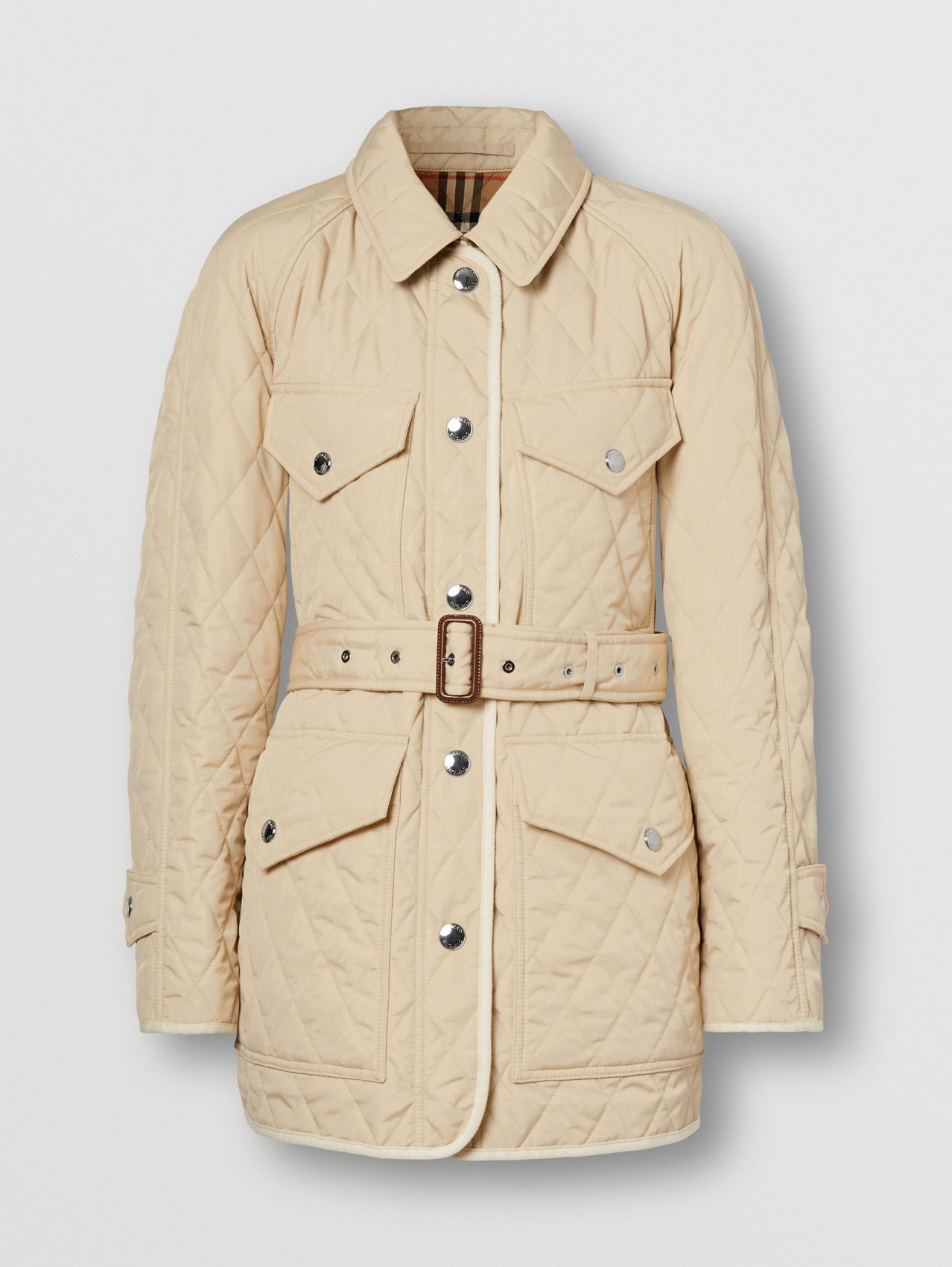 Diamond Quilted Nylon Canvas Field Jacket in Sesame