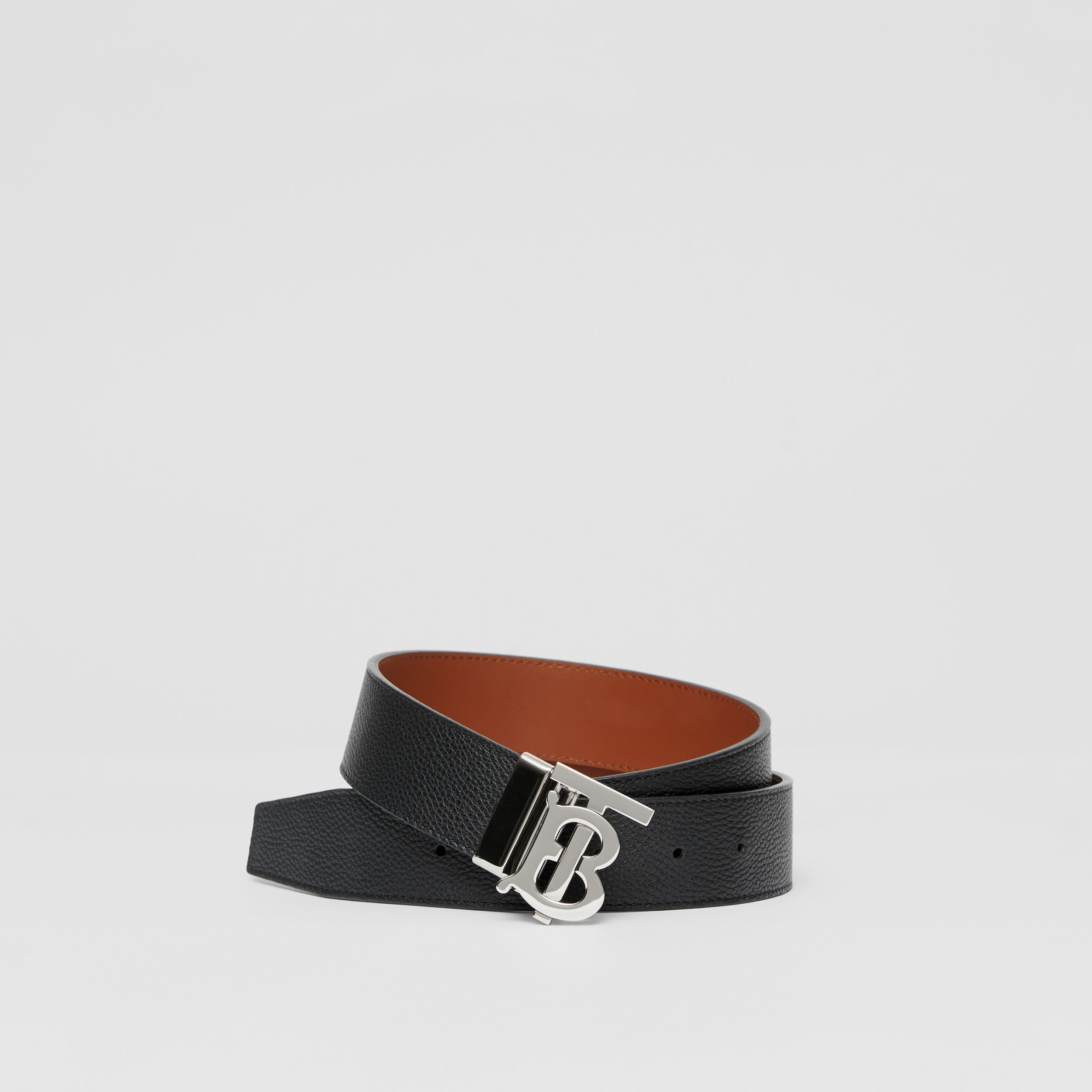 Reversible Monogram Motif Leather Belt in Black/tan - Men | Burberry United Kingdom - 1