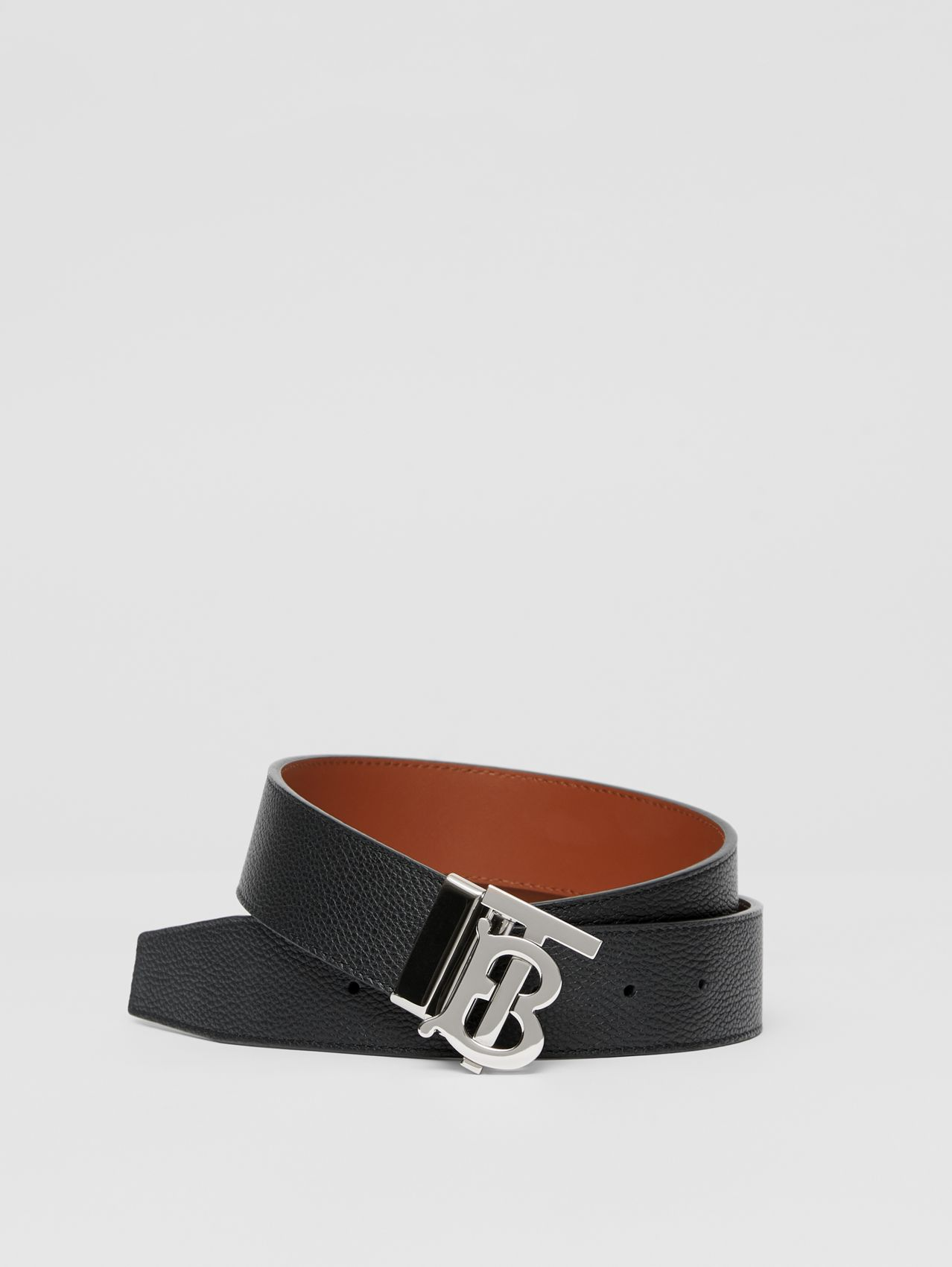 Reversible Monogram Motif Leather Belt (Black/tan)