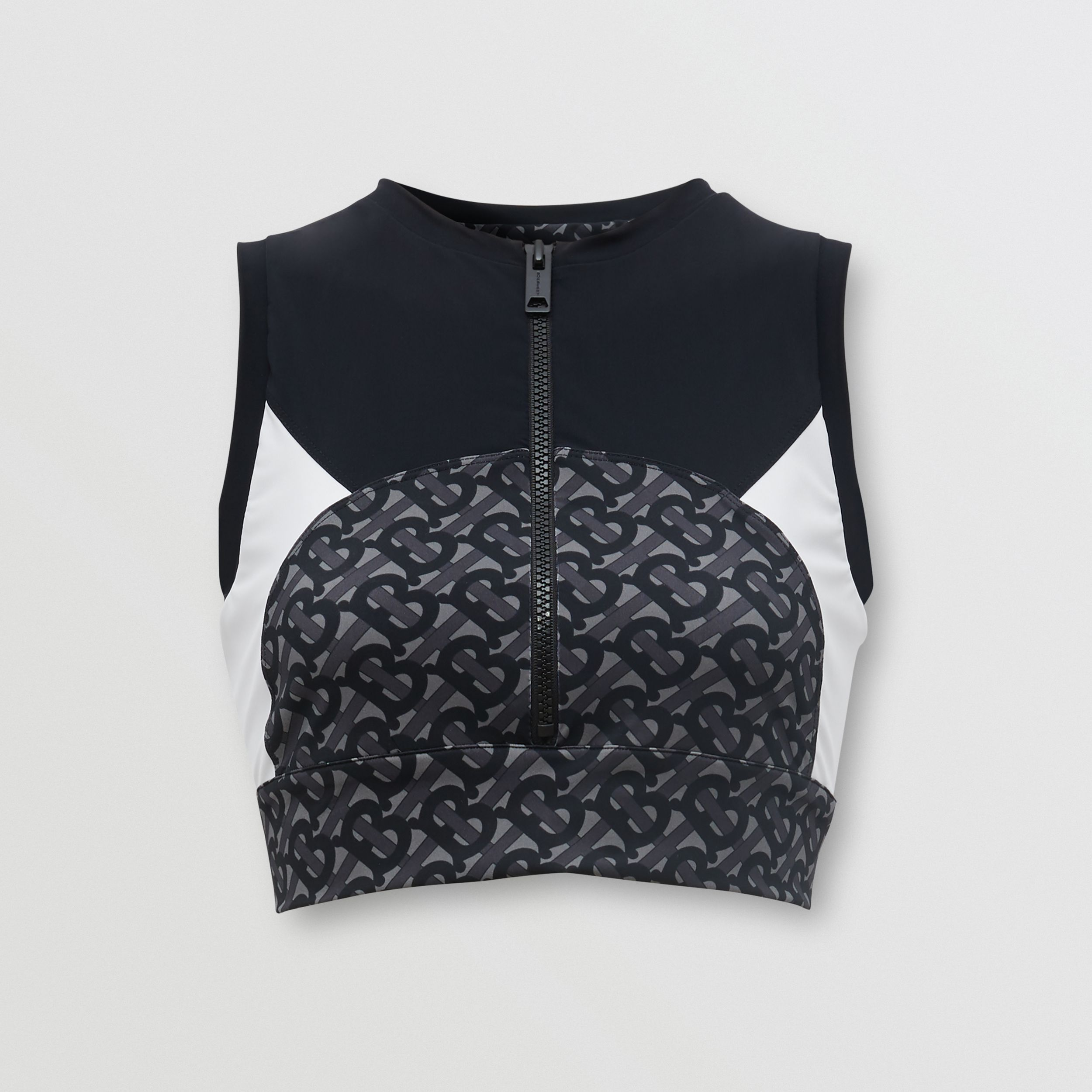 Colour Block Monogram Print Cropped Top in Graphite - Women | Burberry - 4