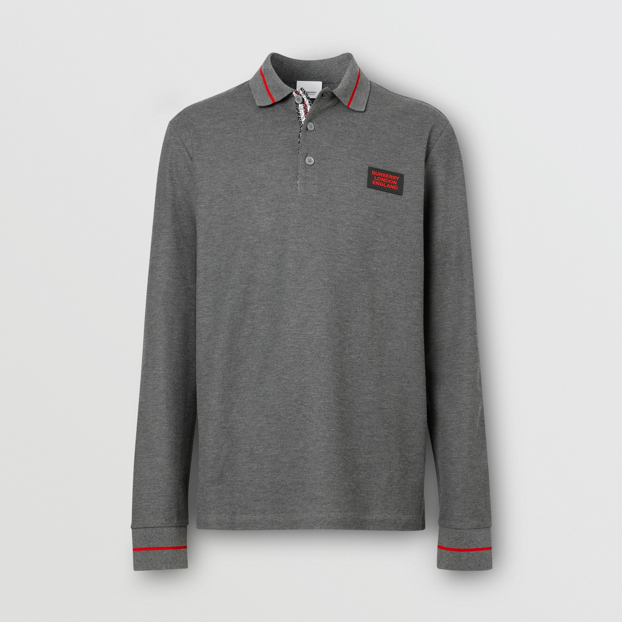 Long-sleeve Logo Appliqué Cotton Polo Shirt in Mid Grey Melange - Men | Burberry - 4