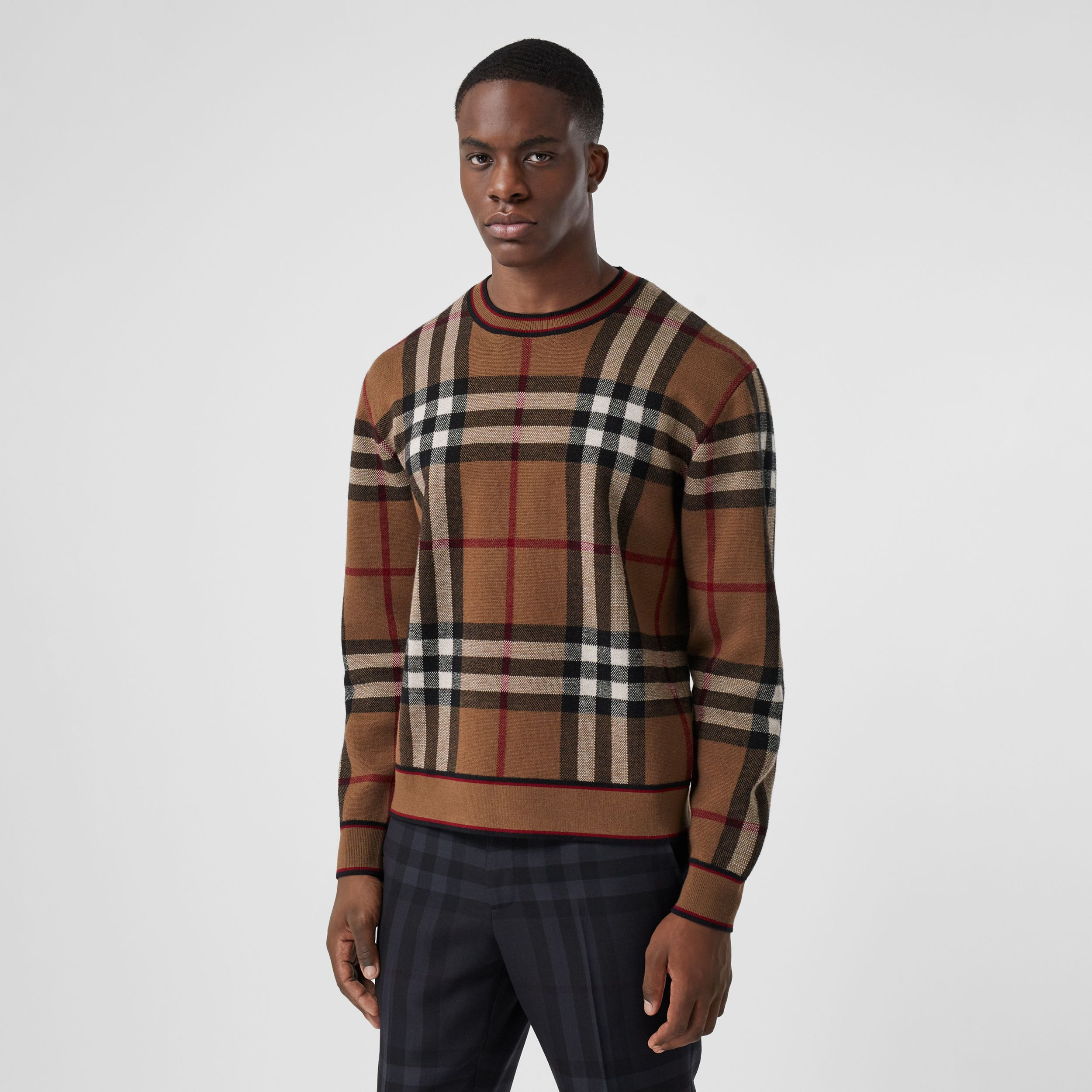 Check Merino Wool Jacquard Sweater in Birch Brown - Men | Burberry - 1