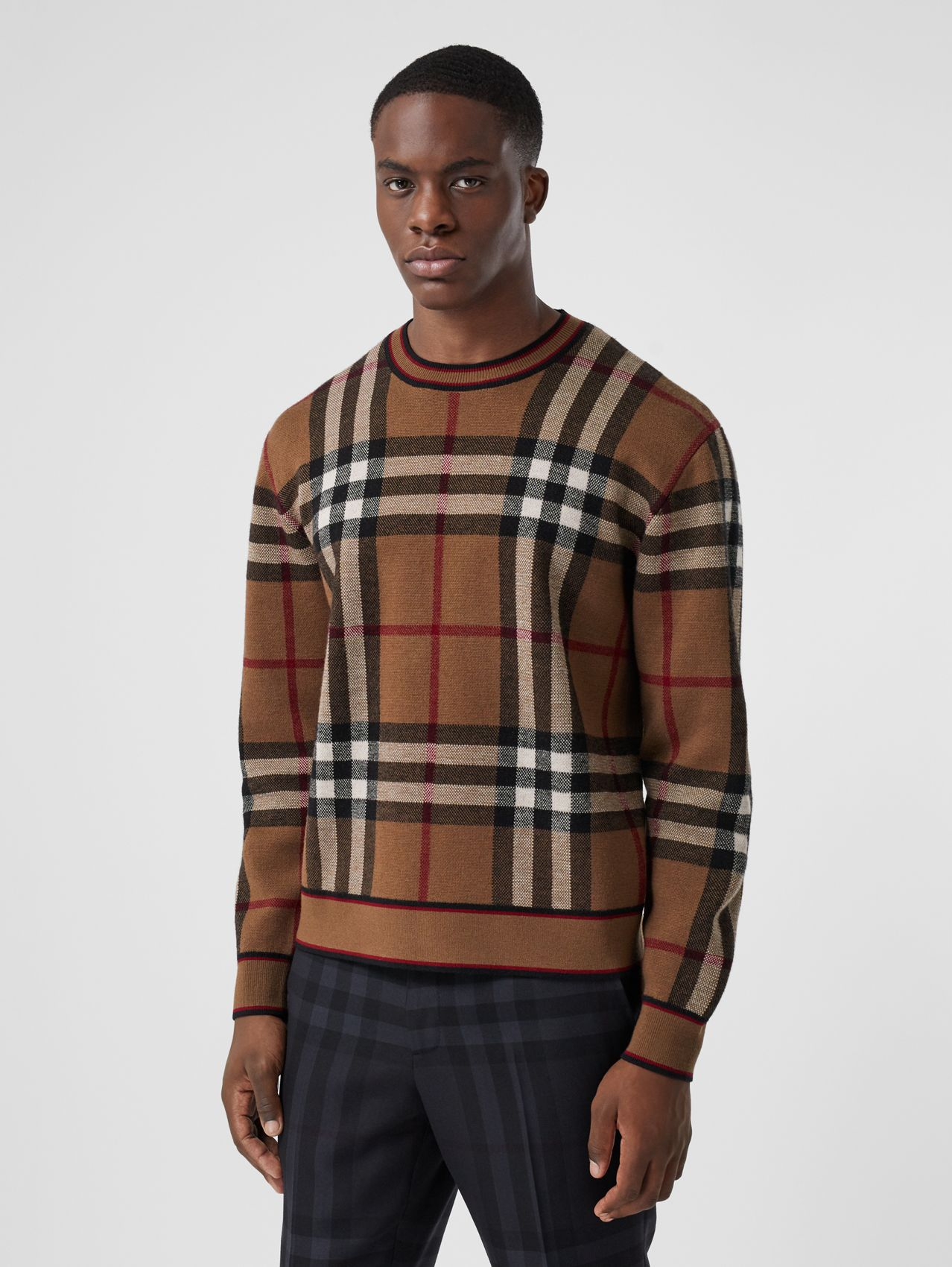 Check Merino Wool Jacquard Sweater in Birch Brown