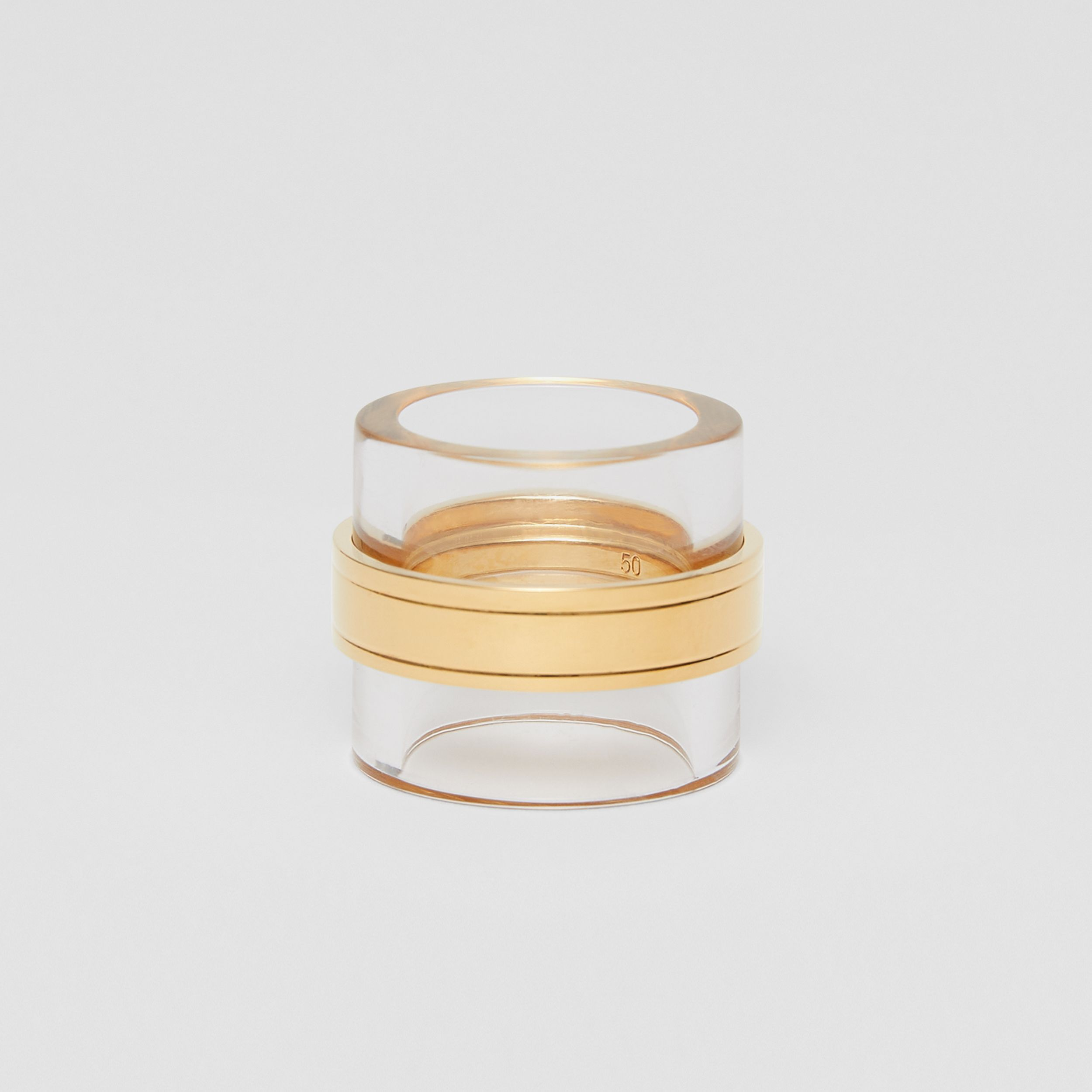 Resin and Gold-plated Cylindrical Ring in Light Gold/beige - Women | Burberry - 1