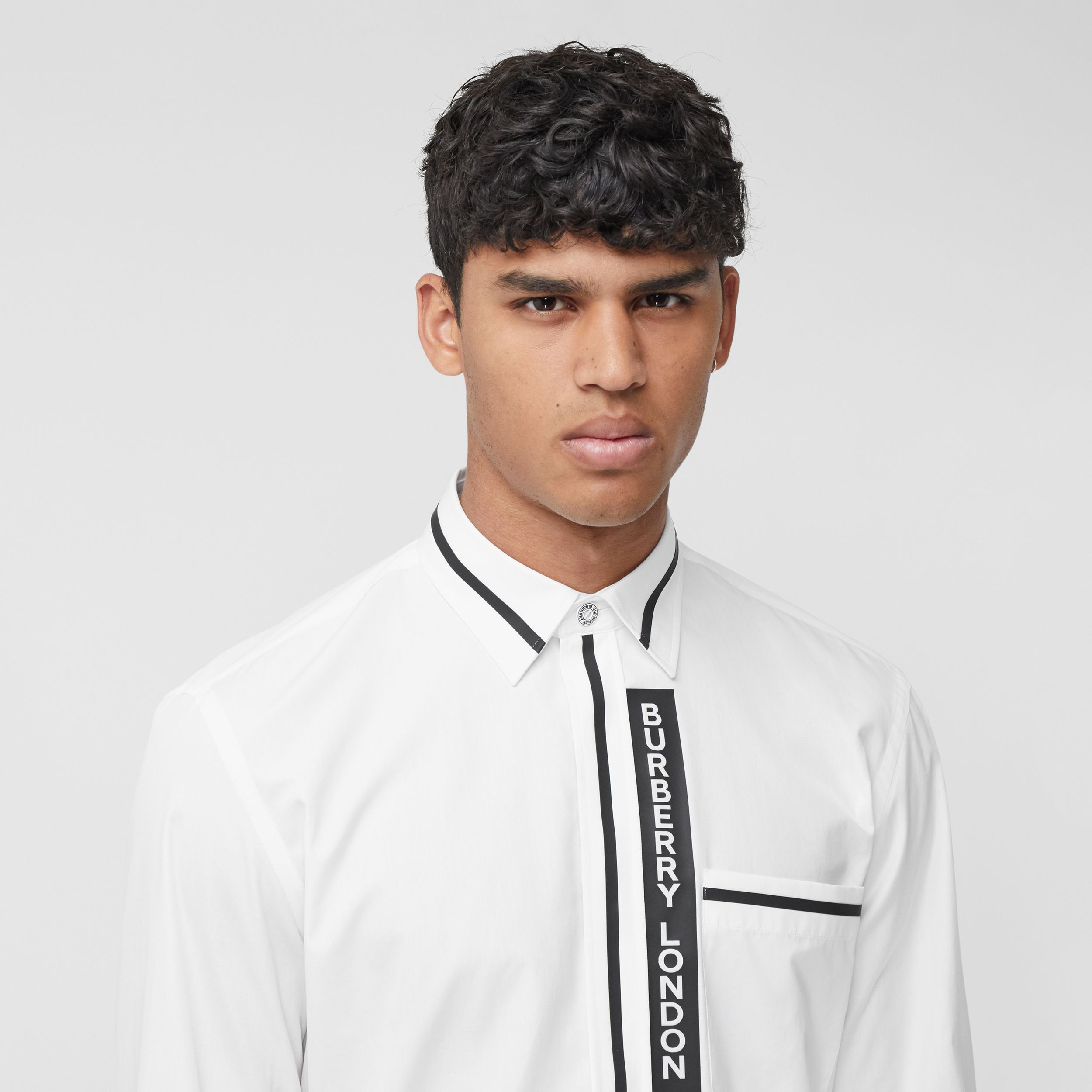 Logo Appliqué Cotton Poplin Shirt in Optic White - Men | Burberry - 2