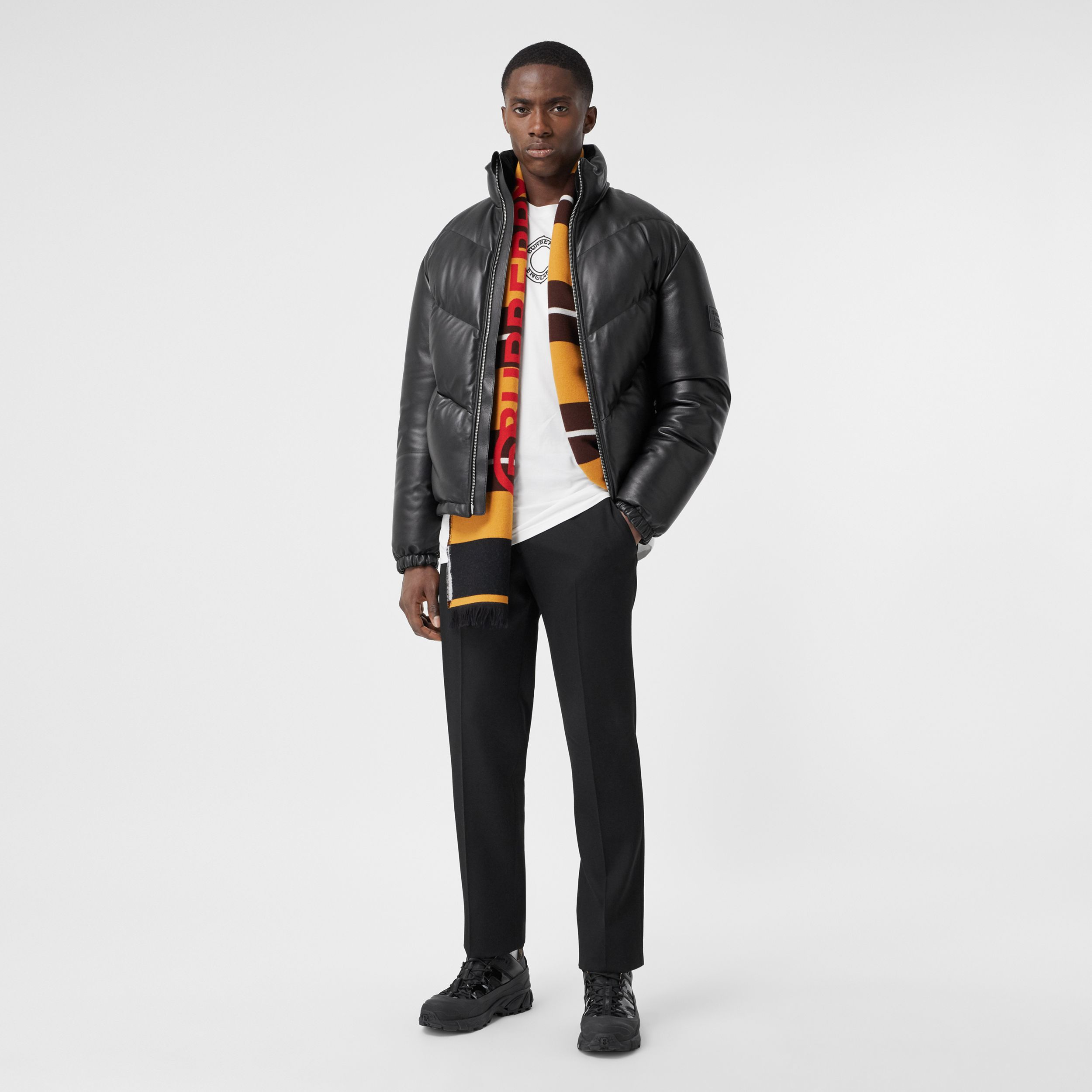 Logo Appliqué Lambskin Puffer Jacket in Black - Men | Burberry - 1