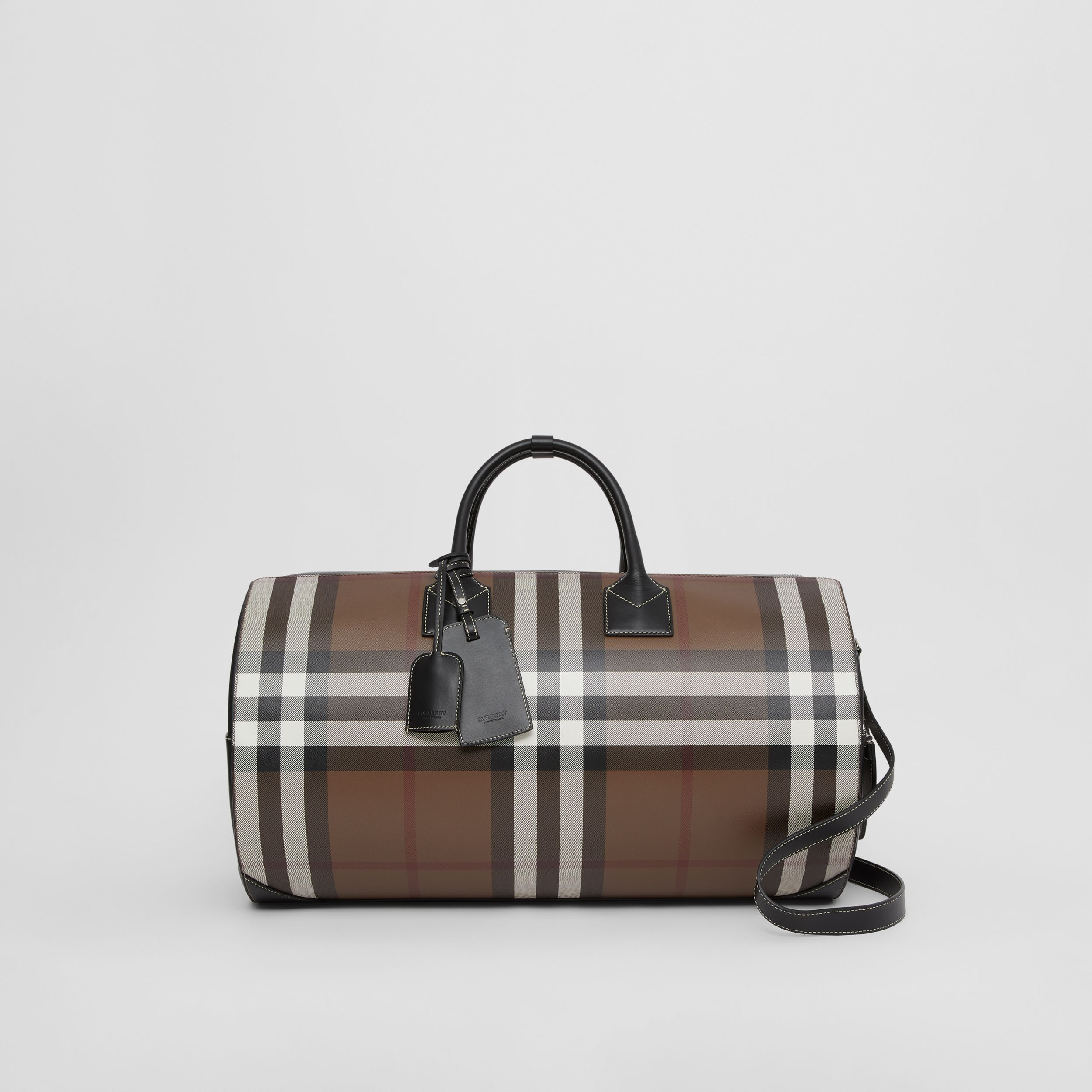Large Check Print Leather Barrel Bag in Dark Birch Brown - Men | Burberry - 1