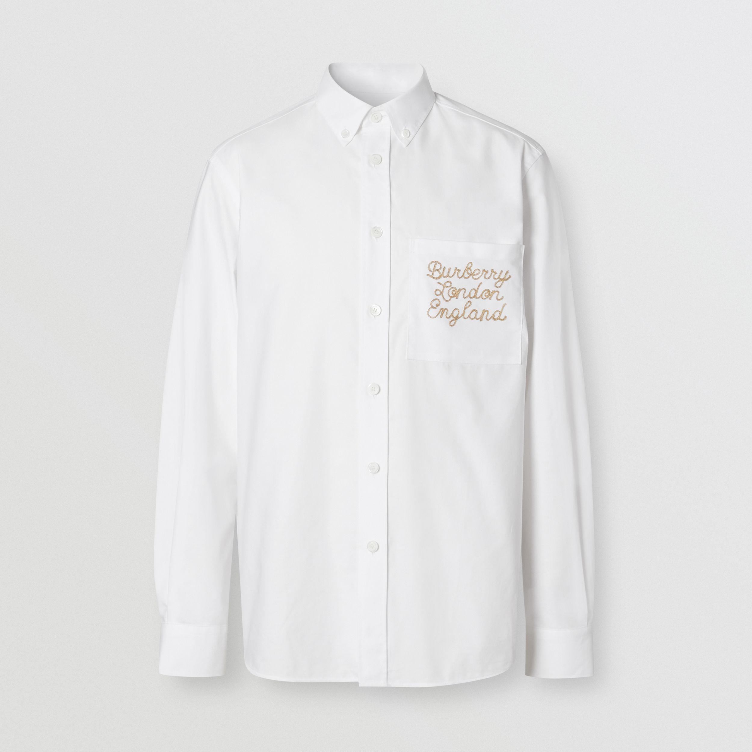 Embroidered Logo Cotton Oxford Shirt in White - Men | Burberry - 4