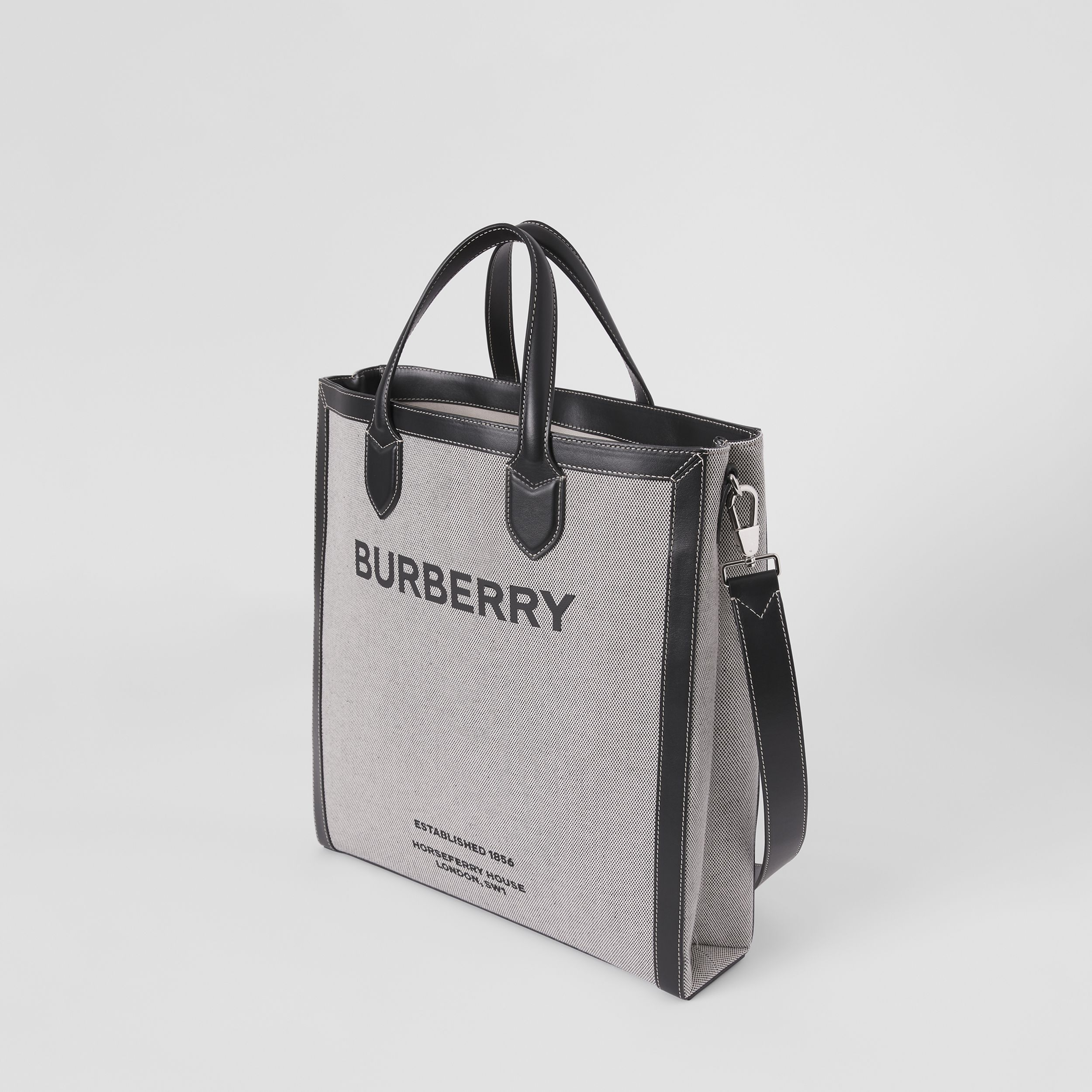 Horseferry Print Canvas and Leather Tote in Black | Burberry Australia - 4