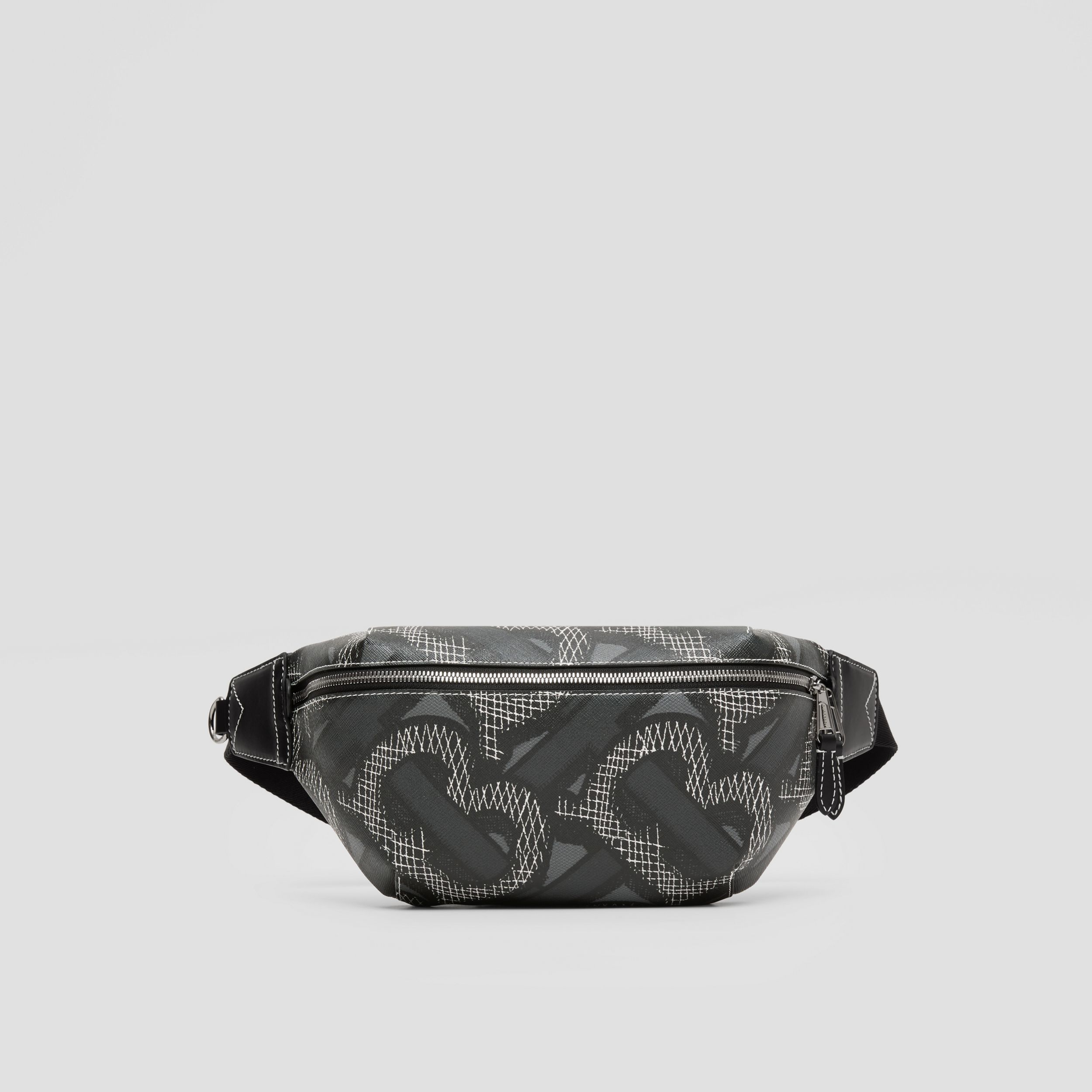 Monogram Print E-canvas Sonny Bum Bag in Graphite | Burberry - 1