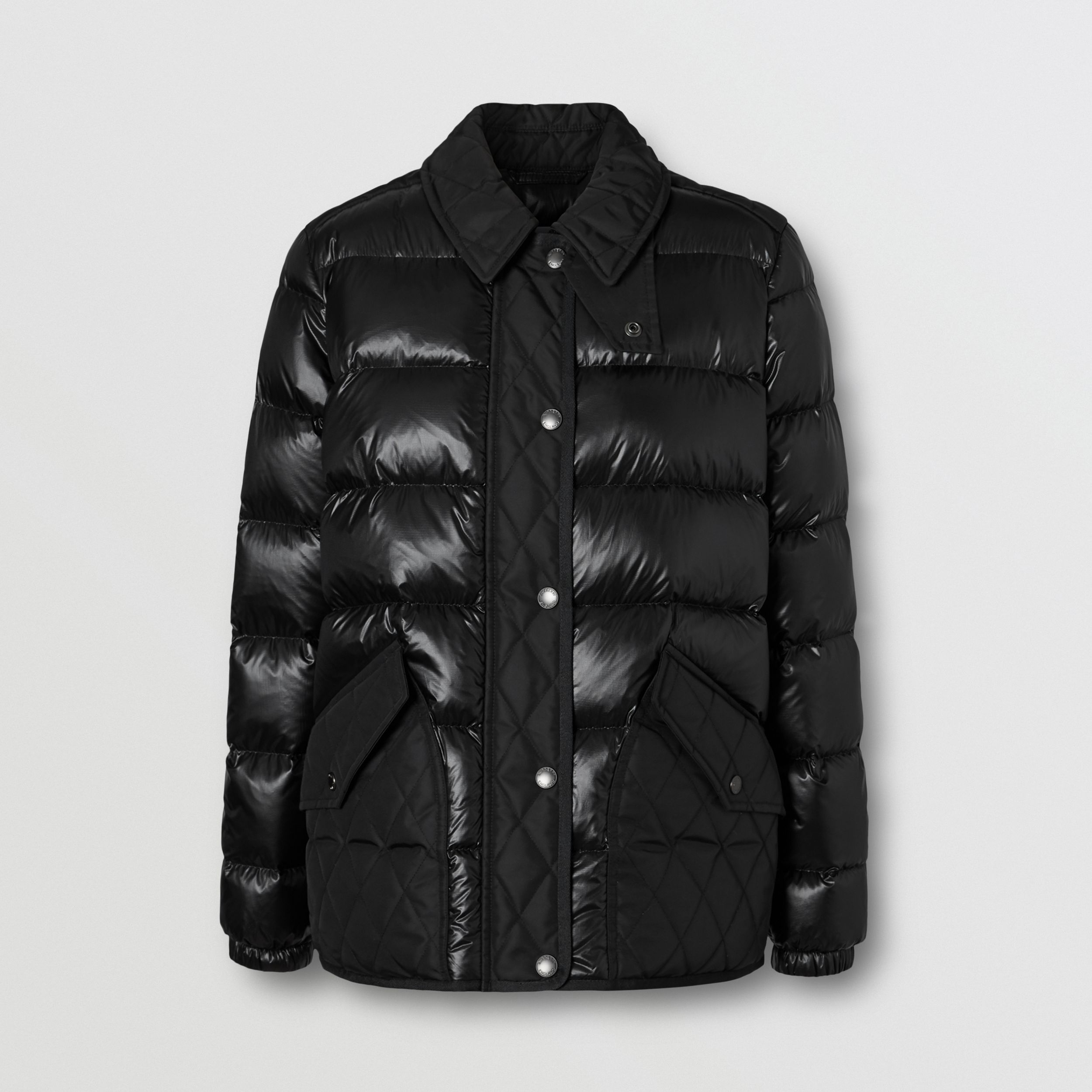 Diamond Quilted Panel Puffer Jacket in Black - Women | Burberry - 4