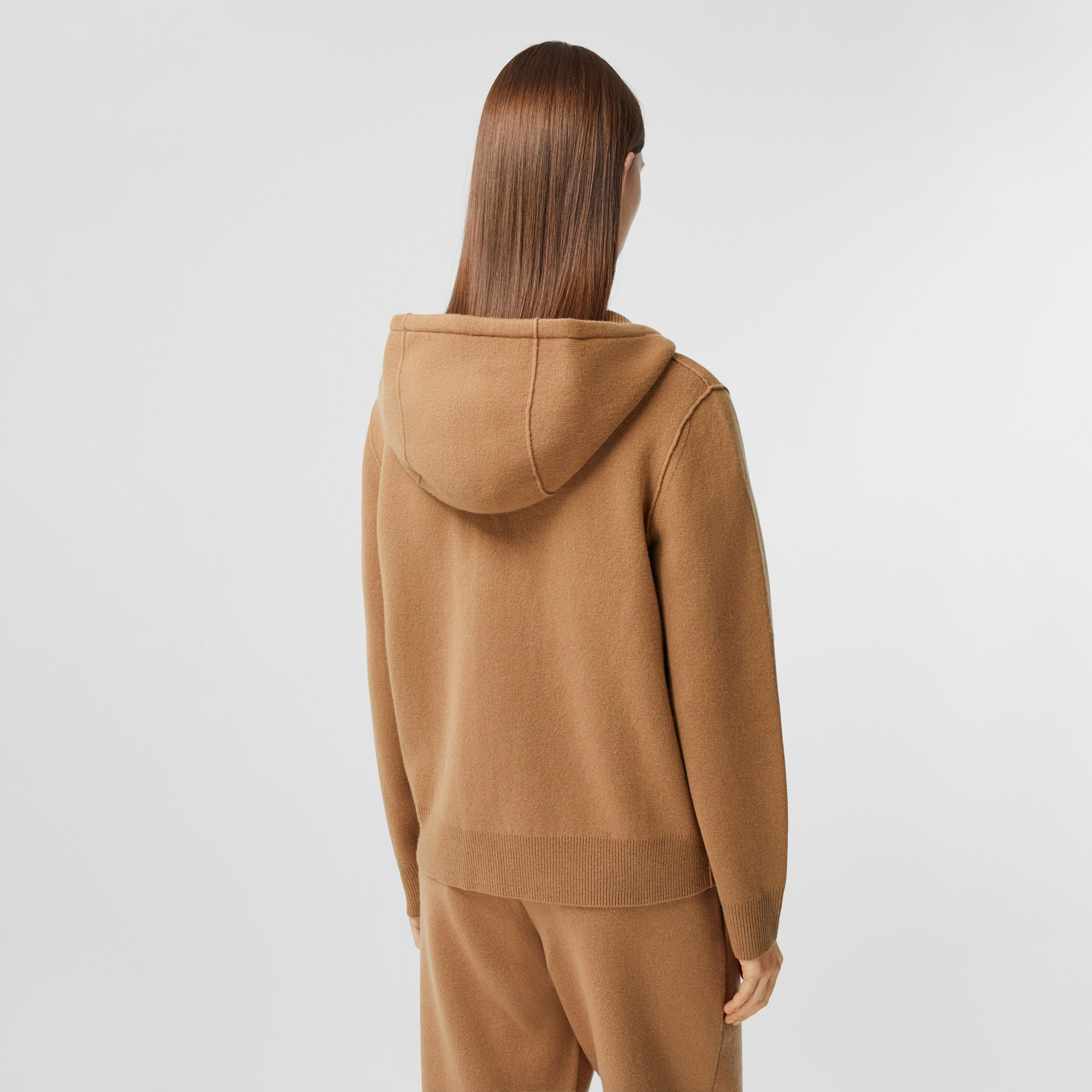 Monogram Motif Cashmere Blend Hooded Top in Camel - Women | Burberry - 3