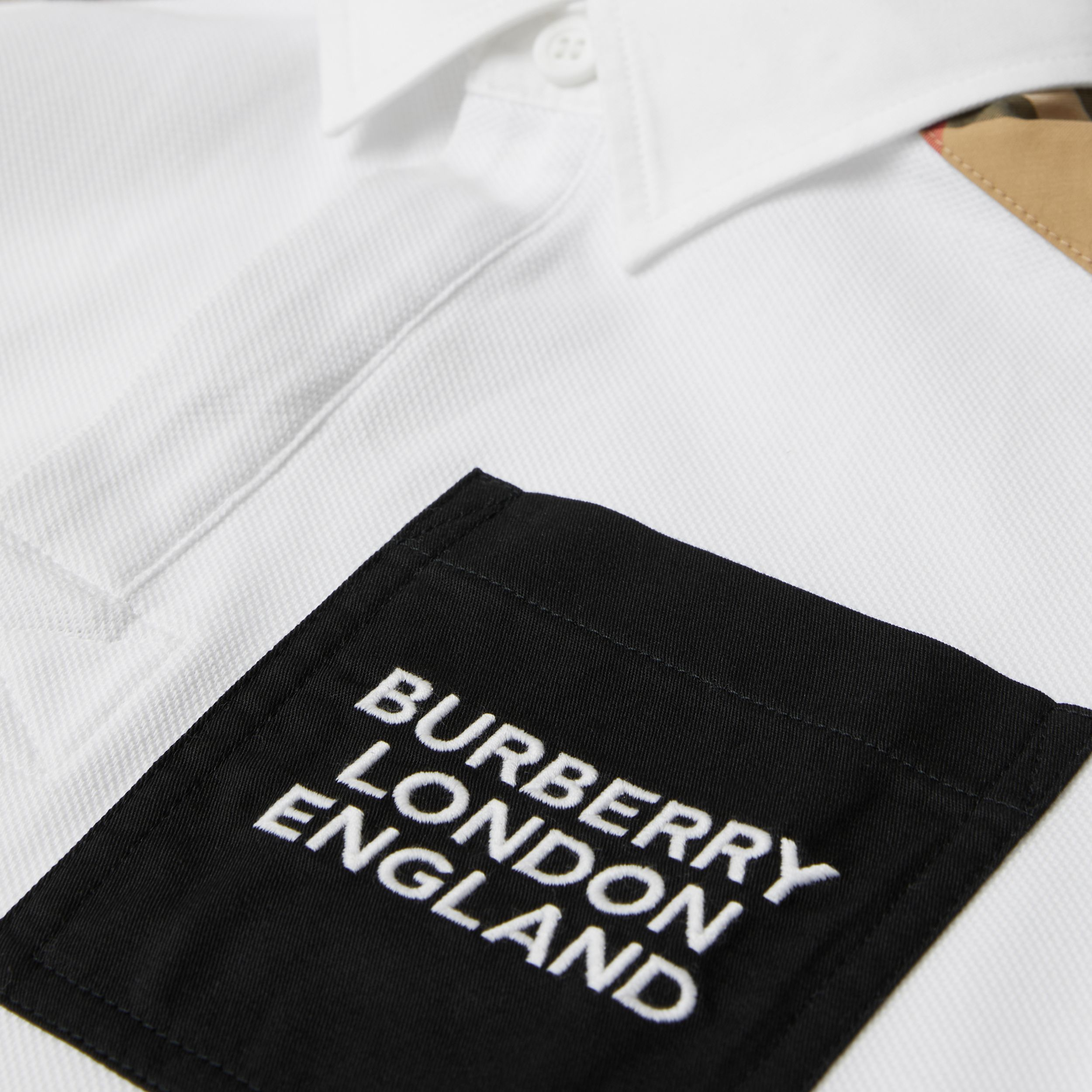 Vintage Check Panel Cotton Piqué Polo Shirt in White | Burberry - 2
