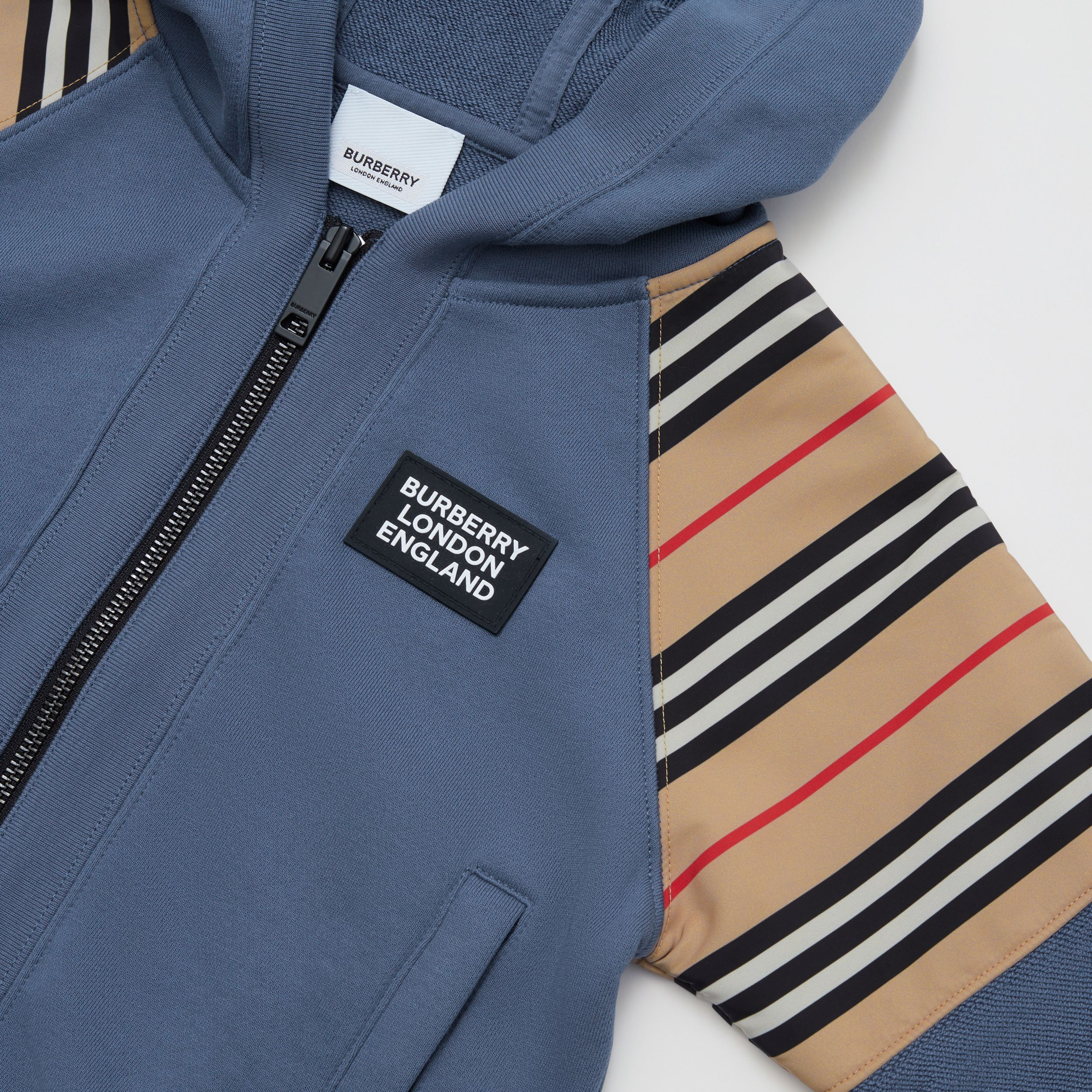 Icon Stripe Panel Cotton Hooded Top in Steel Blue | Burberry - 2
