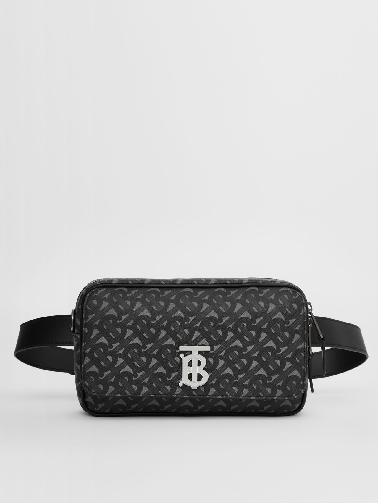 Monogram Print E-canvas Bum Bag in Charcoal/black