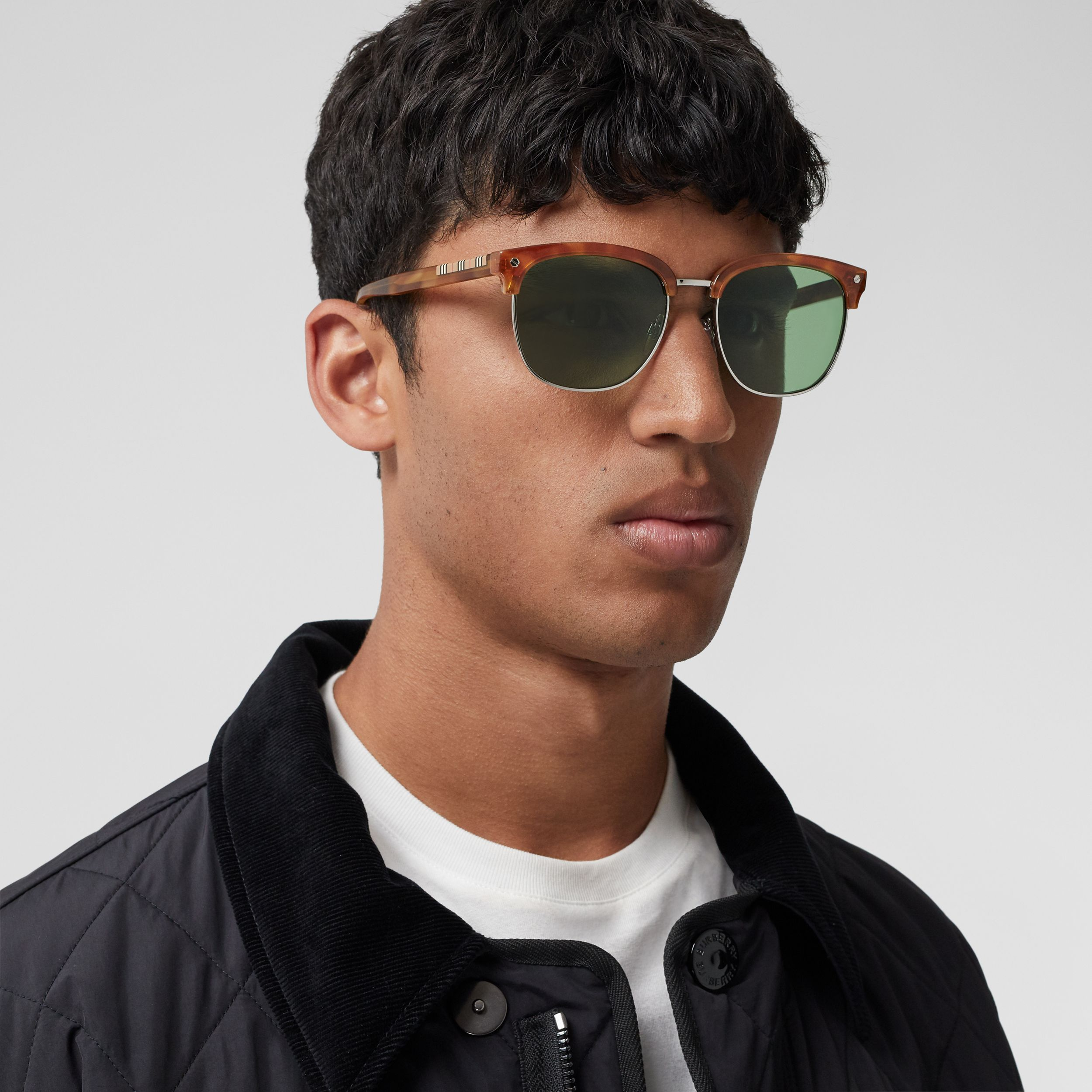 Icon Stripe Detail Square Frame Sunglasses in Bright Tortoiseshell - Men | Burberry - 3