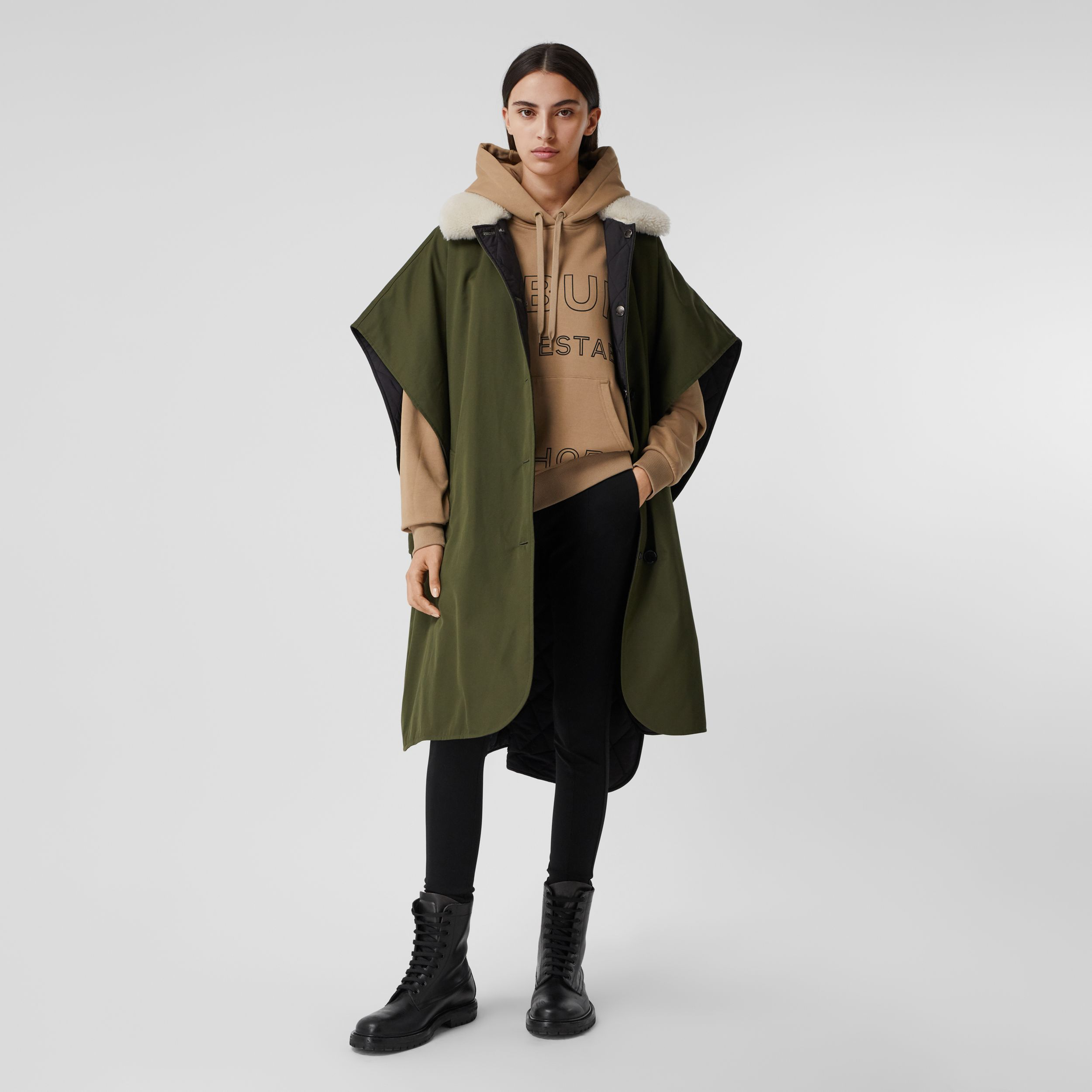 Fleece Collar Reversible Cotton Gabardine Cape in Dark Olive Green - Women | Burberry - 1