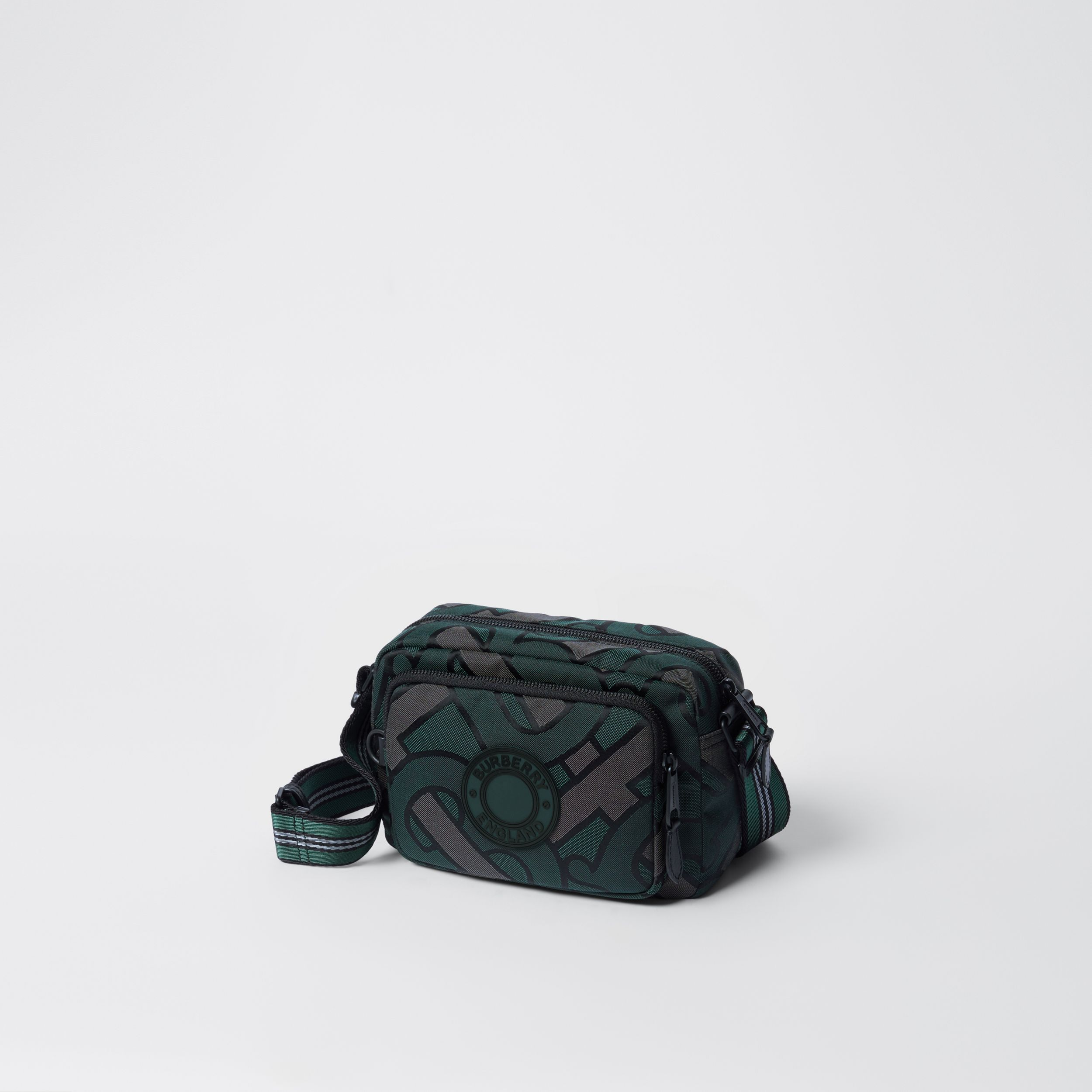 Monogram Recycled Polyester Crossbody Bag in Forest Green - Men | Burberry - 4