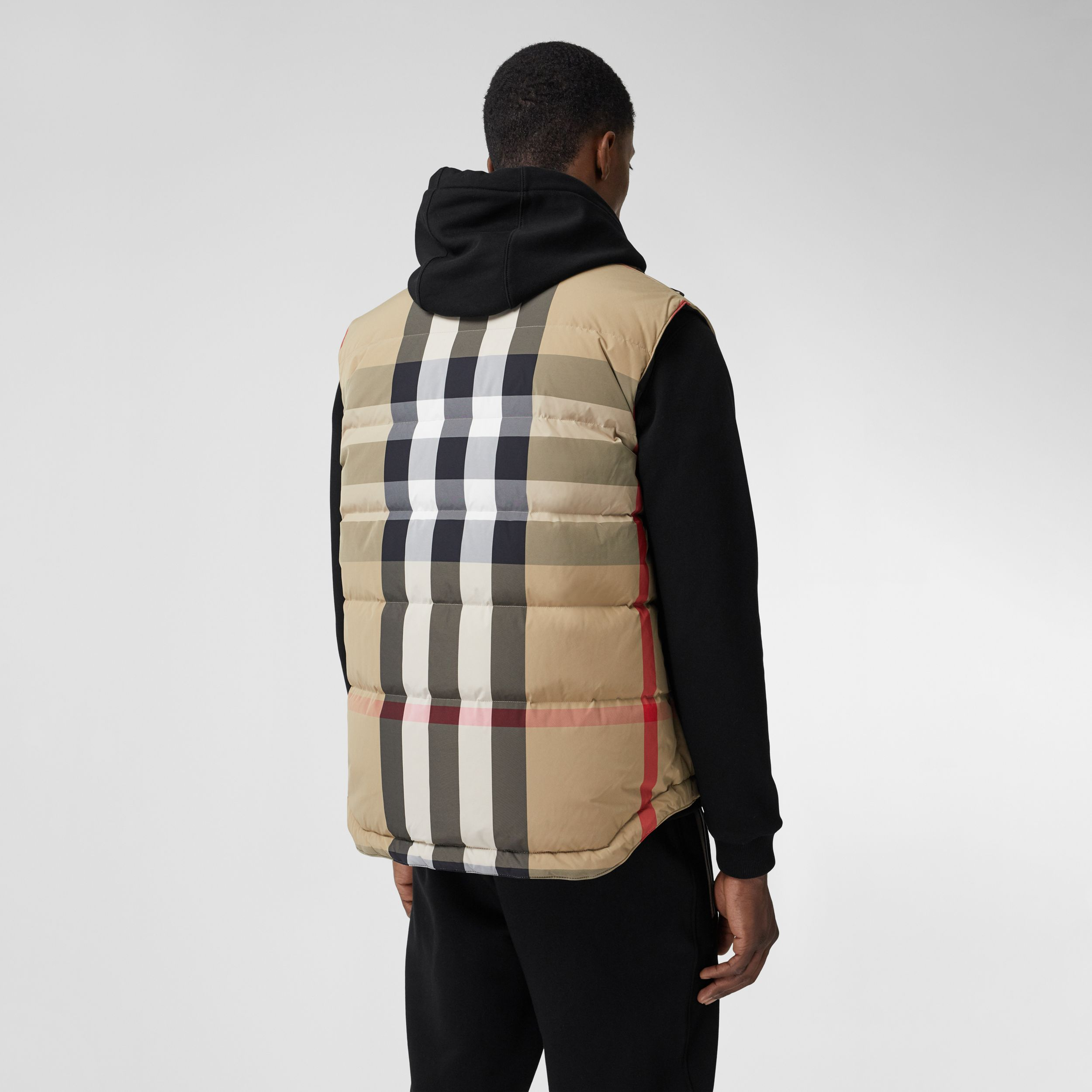 Reversible Recycled Nylon Re:Down® Puffer Gilet in Archive Beige/black - Men | Burberry - 3
