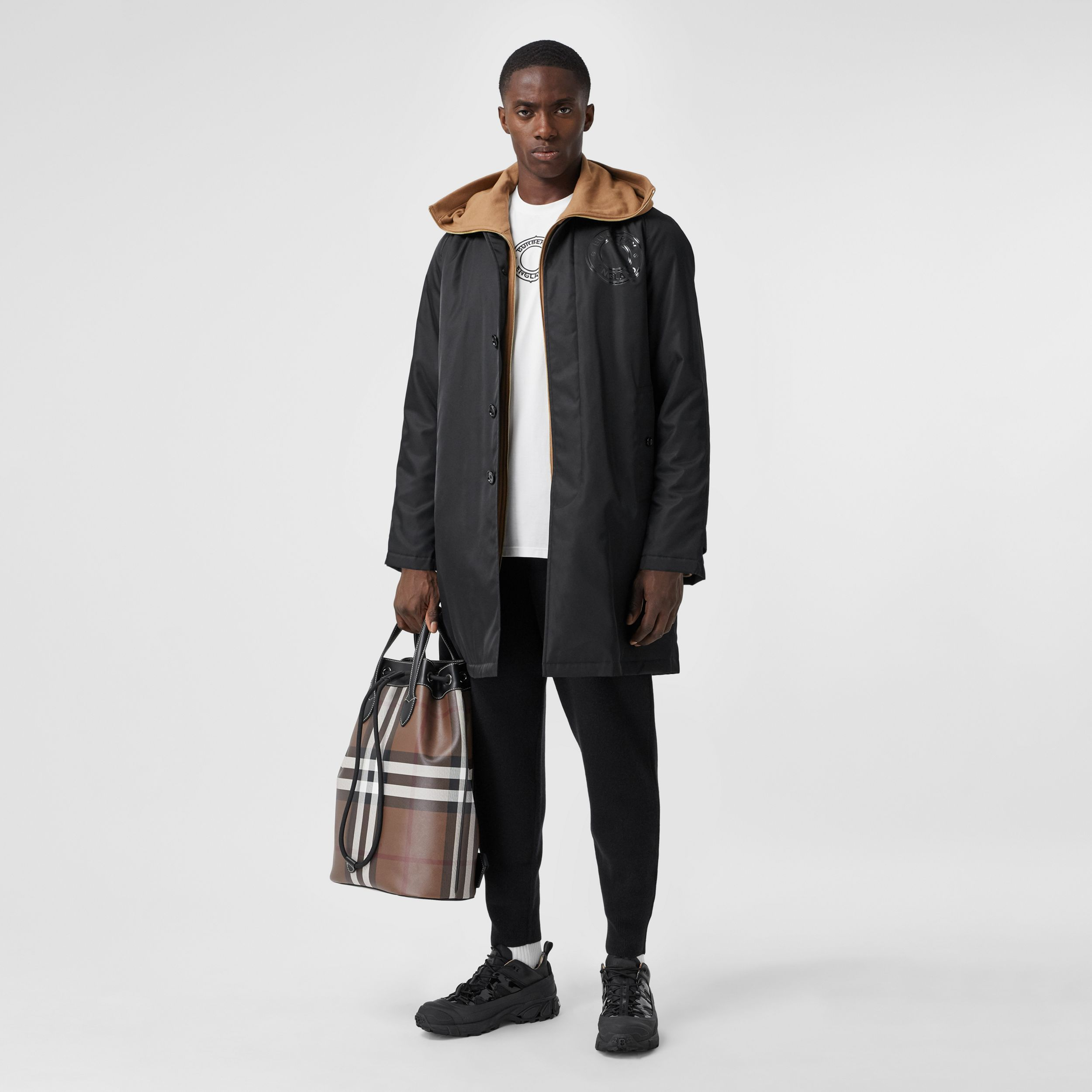 Logo Graphic ECONYL® Car Coat in Black - Men | Burberry Canada - 1