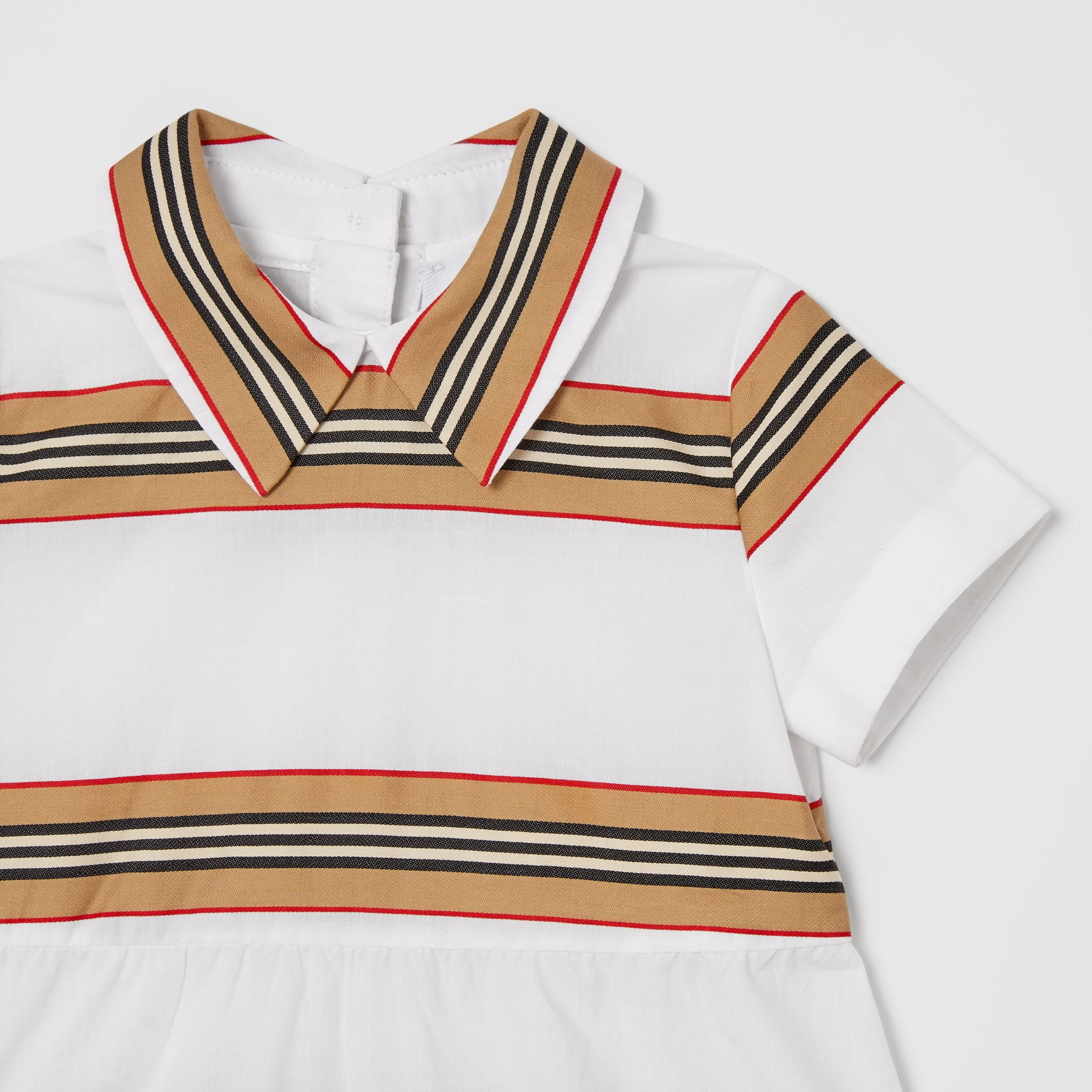 Icon Stripe Cotton Dress with Bloomers in White - Children | Burberry - 4