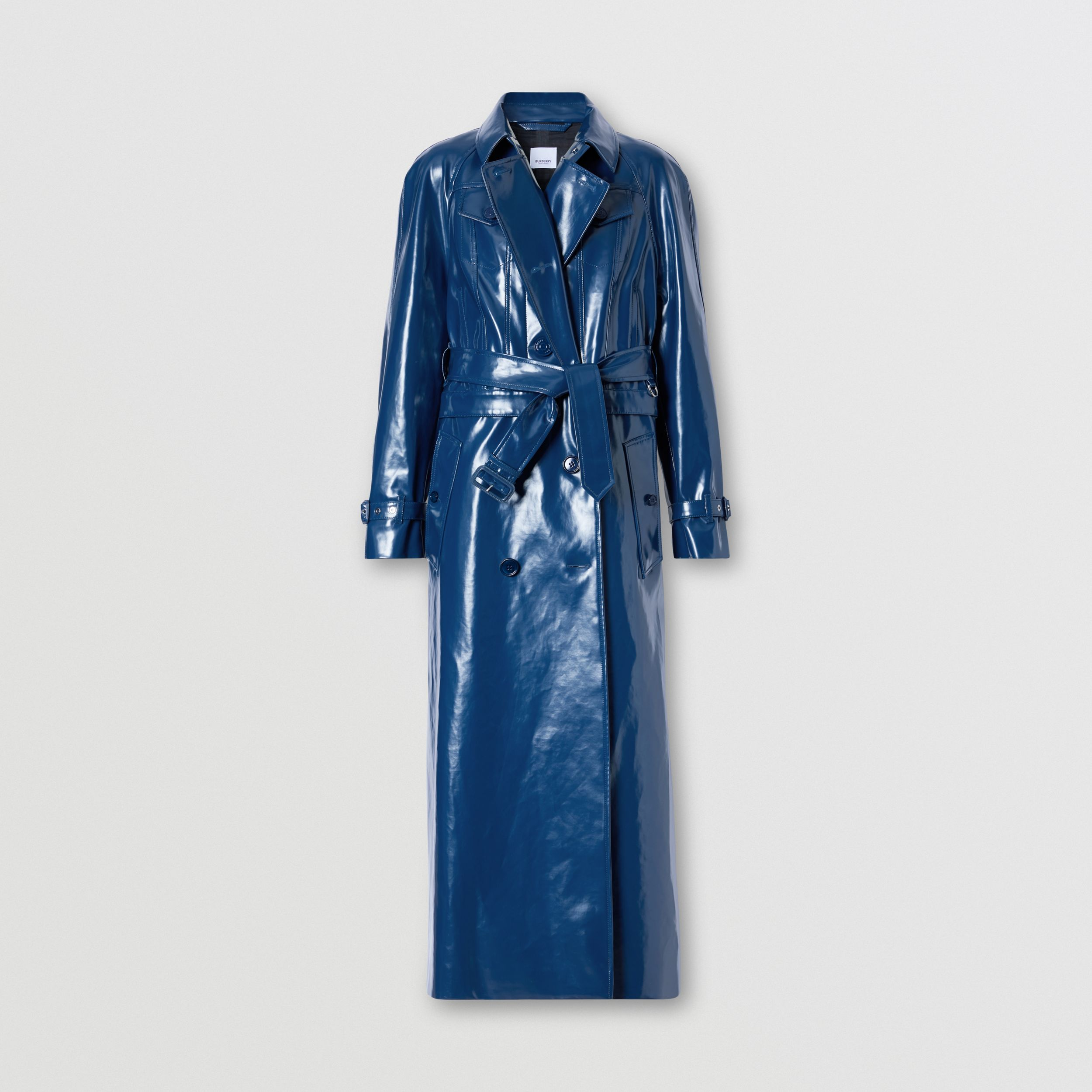 Jacket Detail Rubberised Cotton Trench Coat in Ink Blue - Women | Burberry United Kingdom - 4