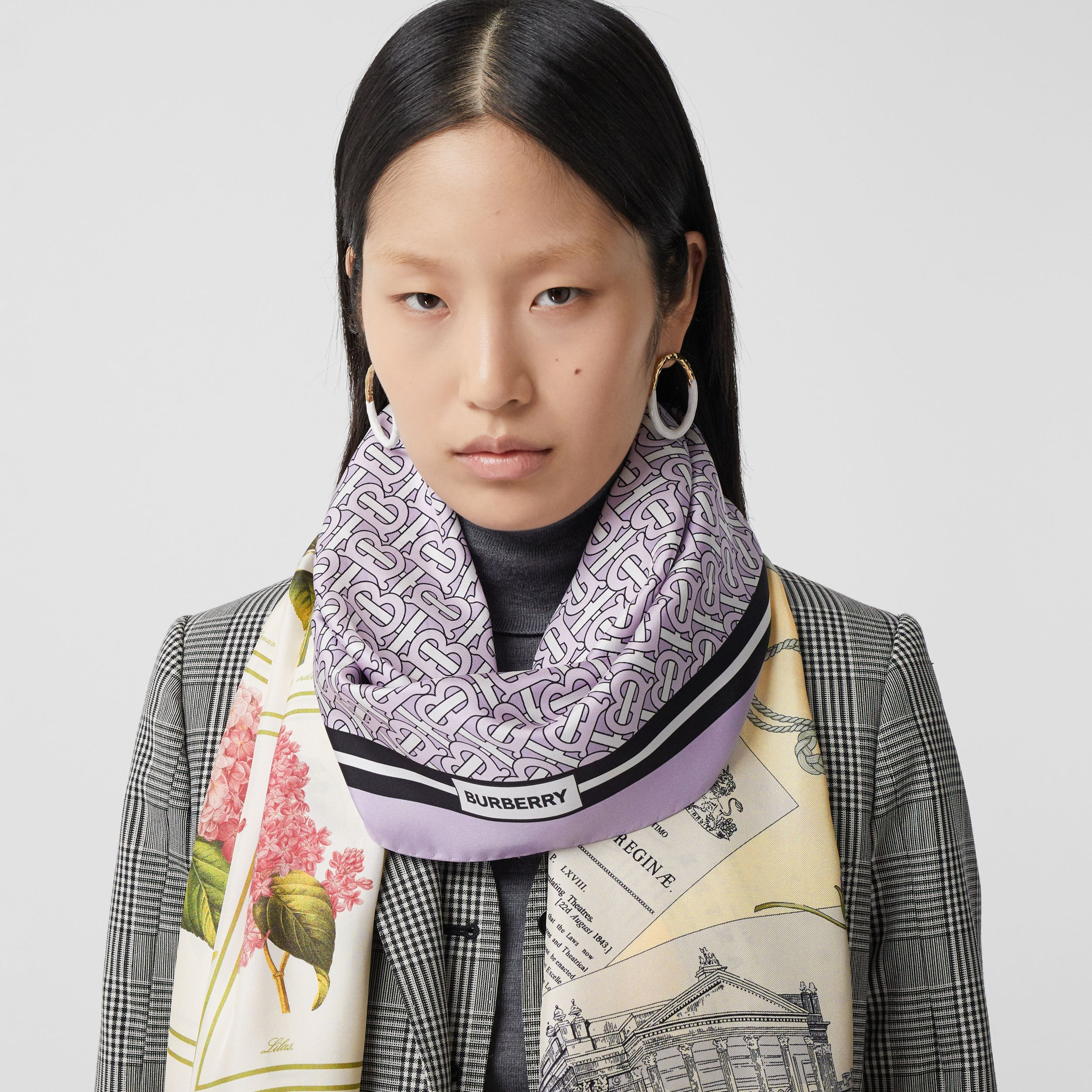 Montage Print Silk Scarf in Pale Thistle | Burberry - 3