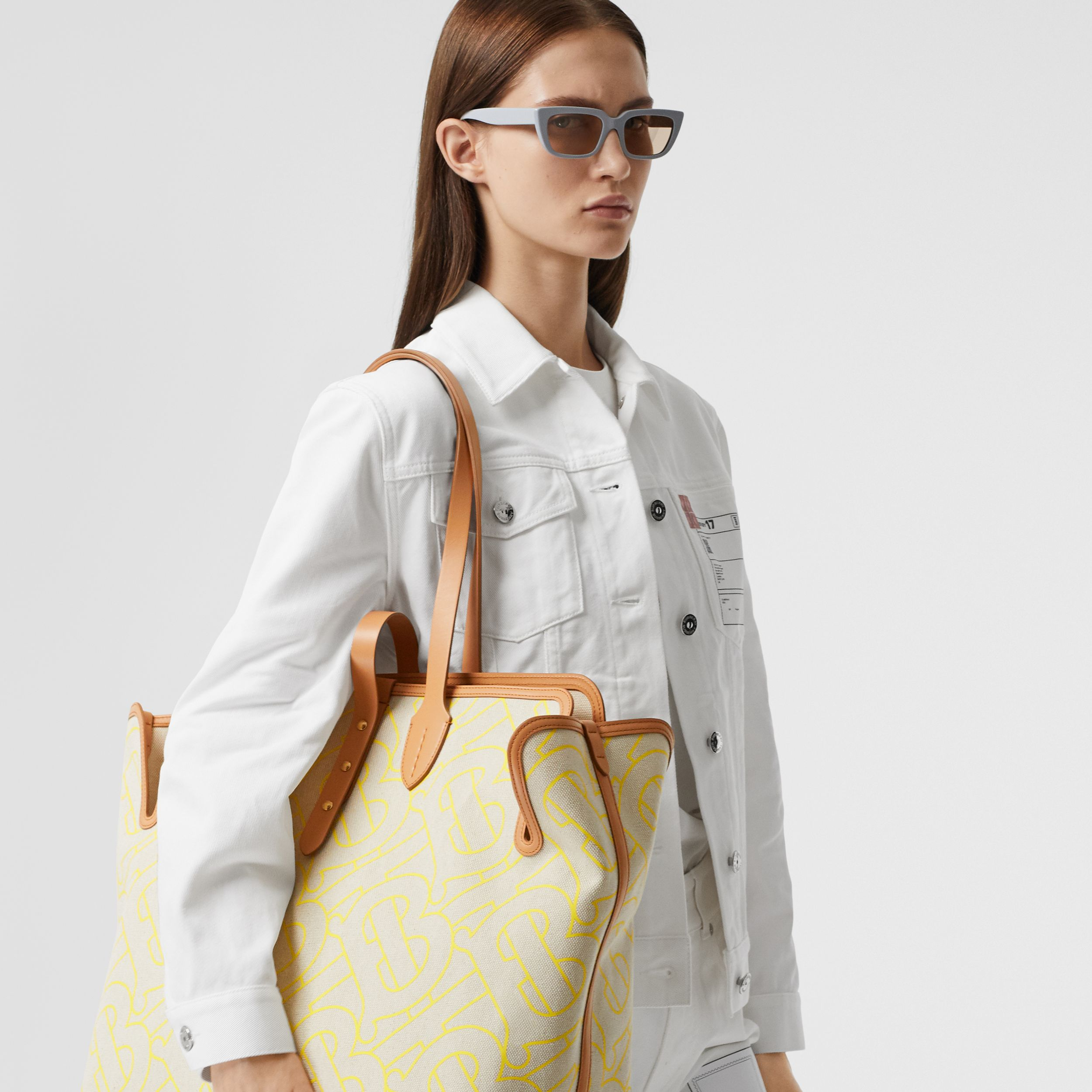 The Large Soft Cotton Canvas Belt Bag in Natural/yellow | Burberry - 3