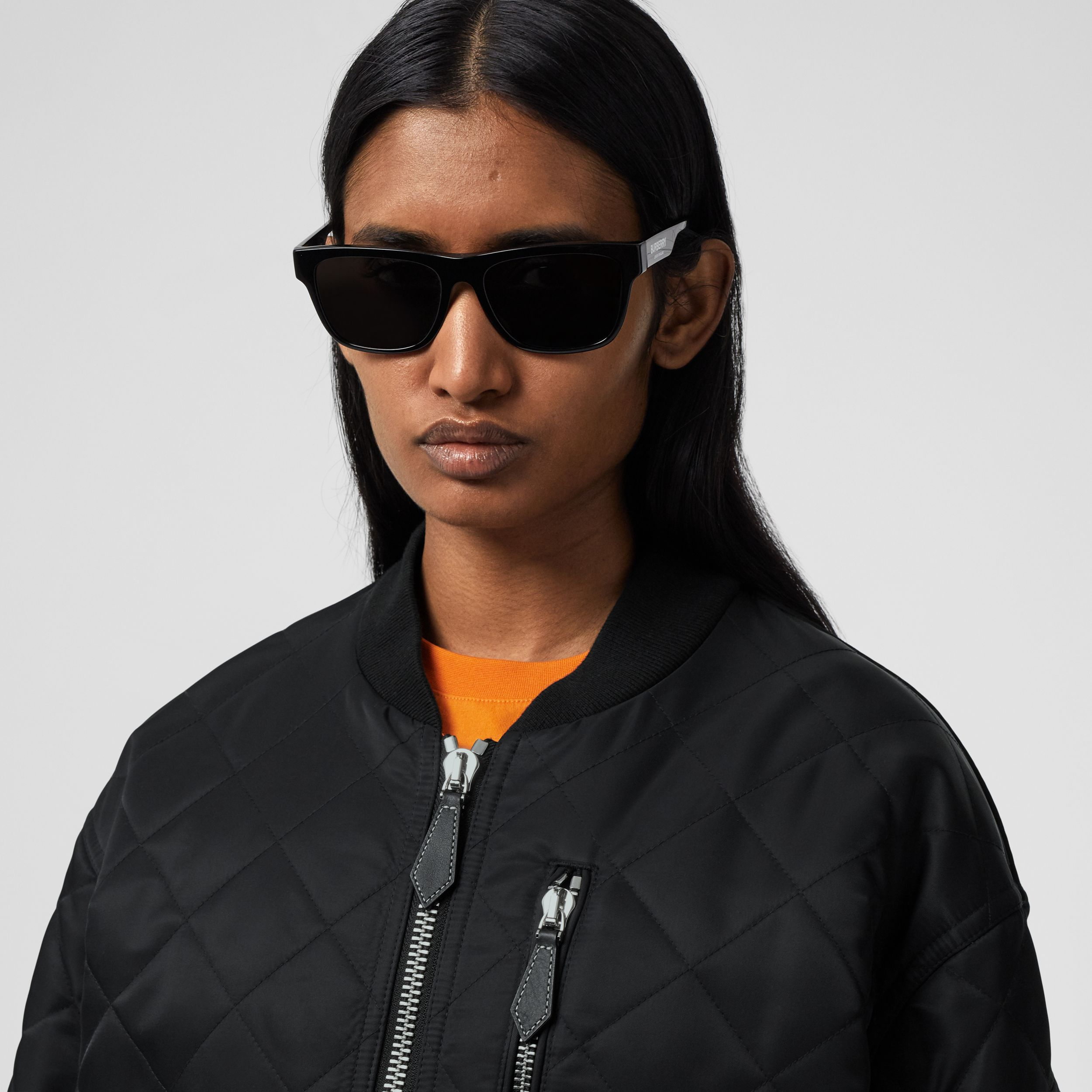 Diamond Quilted Nylon and Cotton Bomber Jacket in Black/black - Women | Burberry Singapore - 2