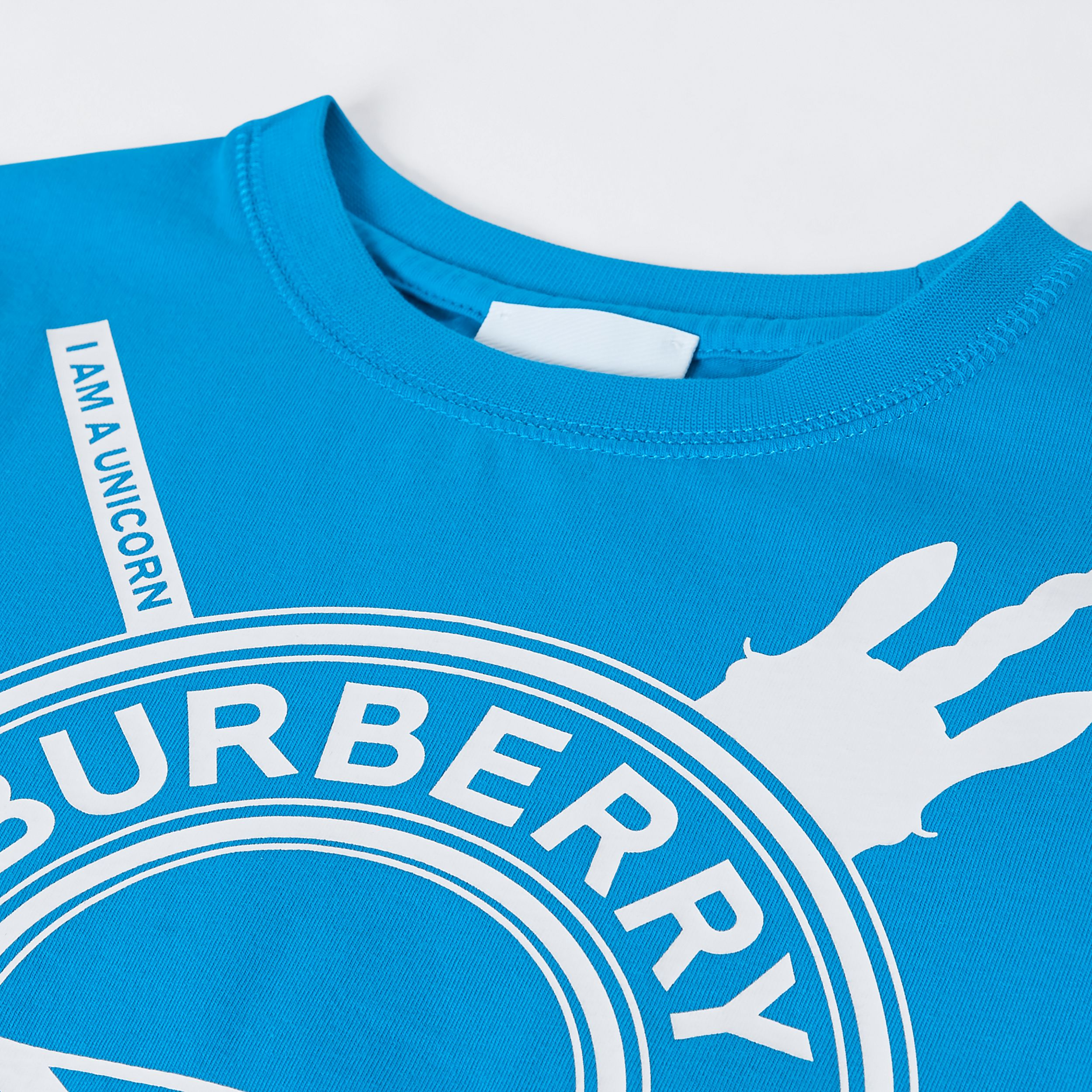 Logo Graphic Print Cotton T-shirt in Cerulean Blue | Burberry Australia - 2