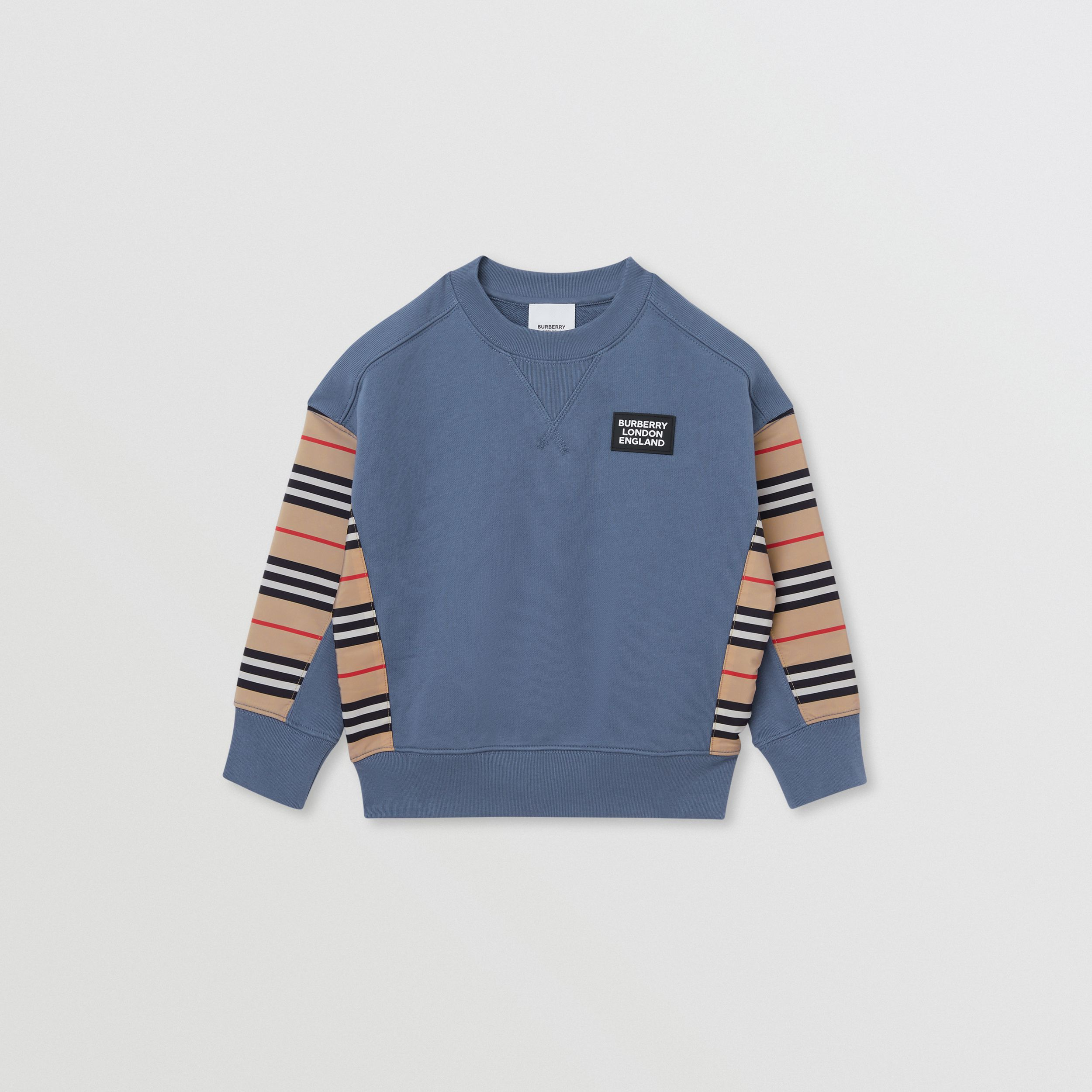 Icon Stripe Panel Cotton Sweatshirt in Steel Blue | Burberry - 1