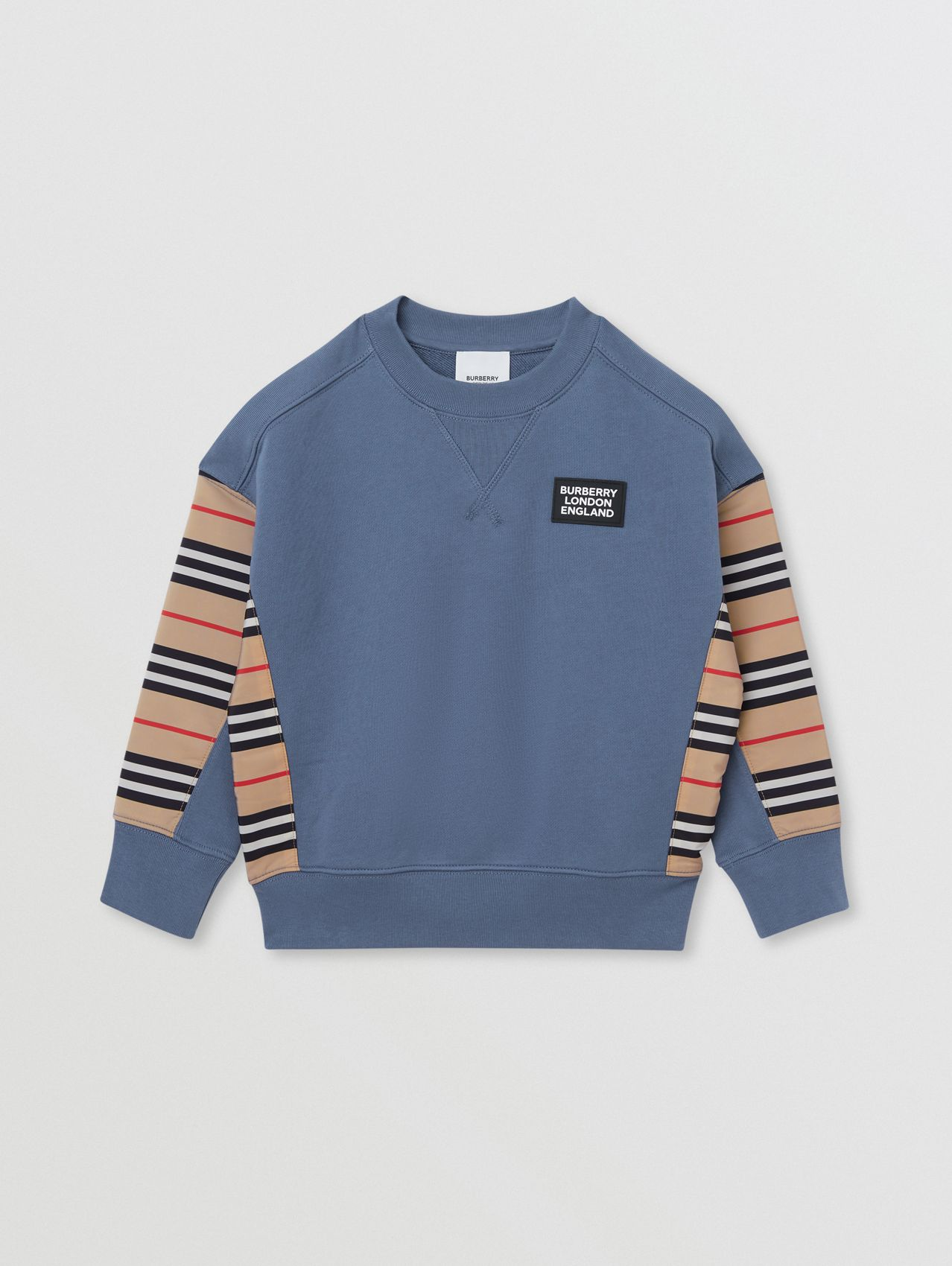 Icon Stripe Panel Cotton Sweatshirt (Steel Blue)
