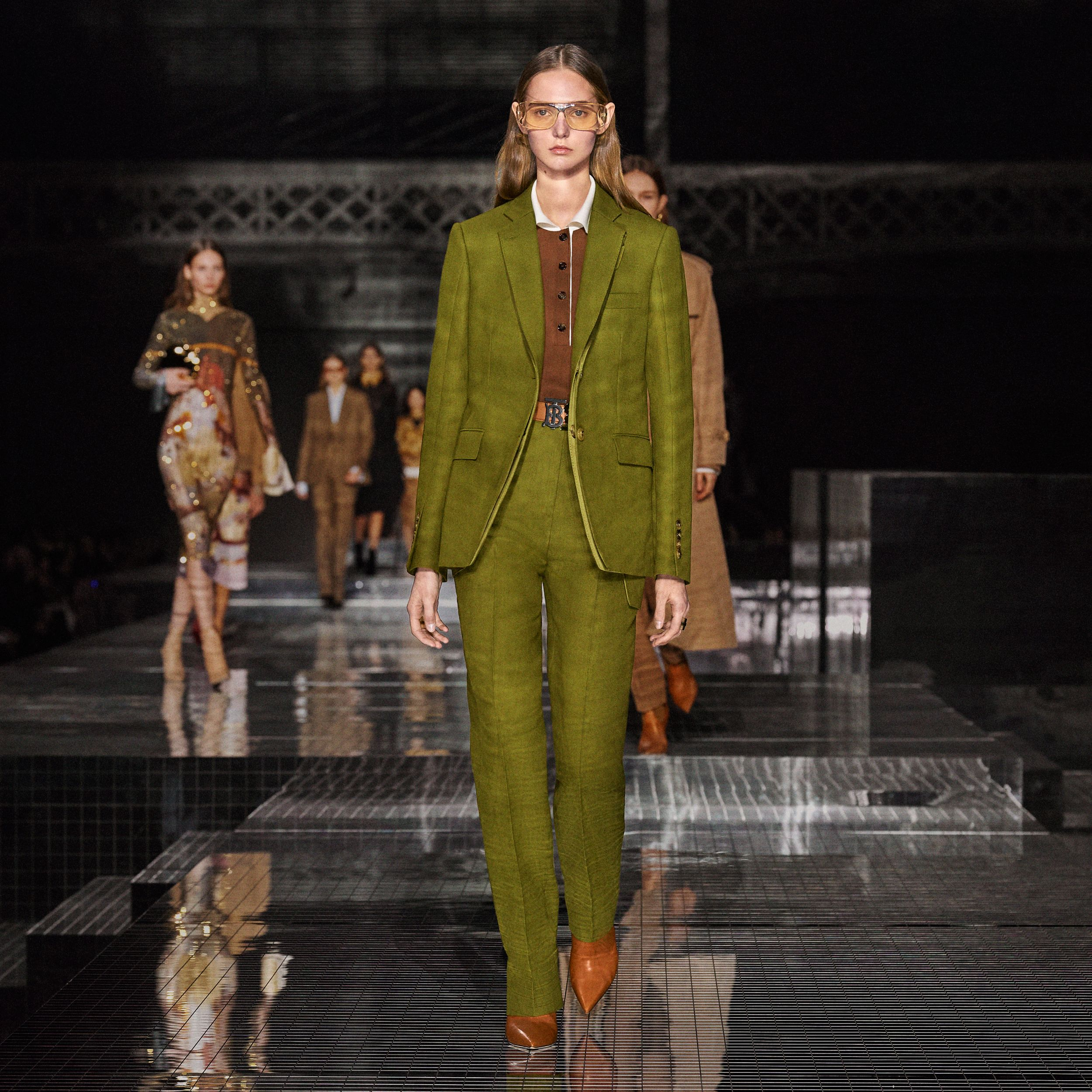 Wool Ramie Tailored Trousers in Juniper Green - Women | Burberry - 2