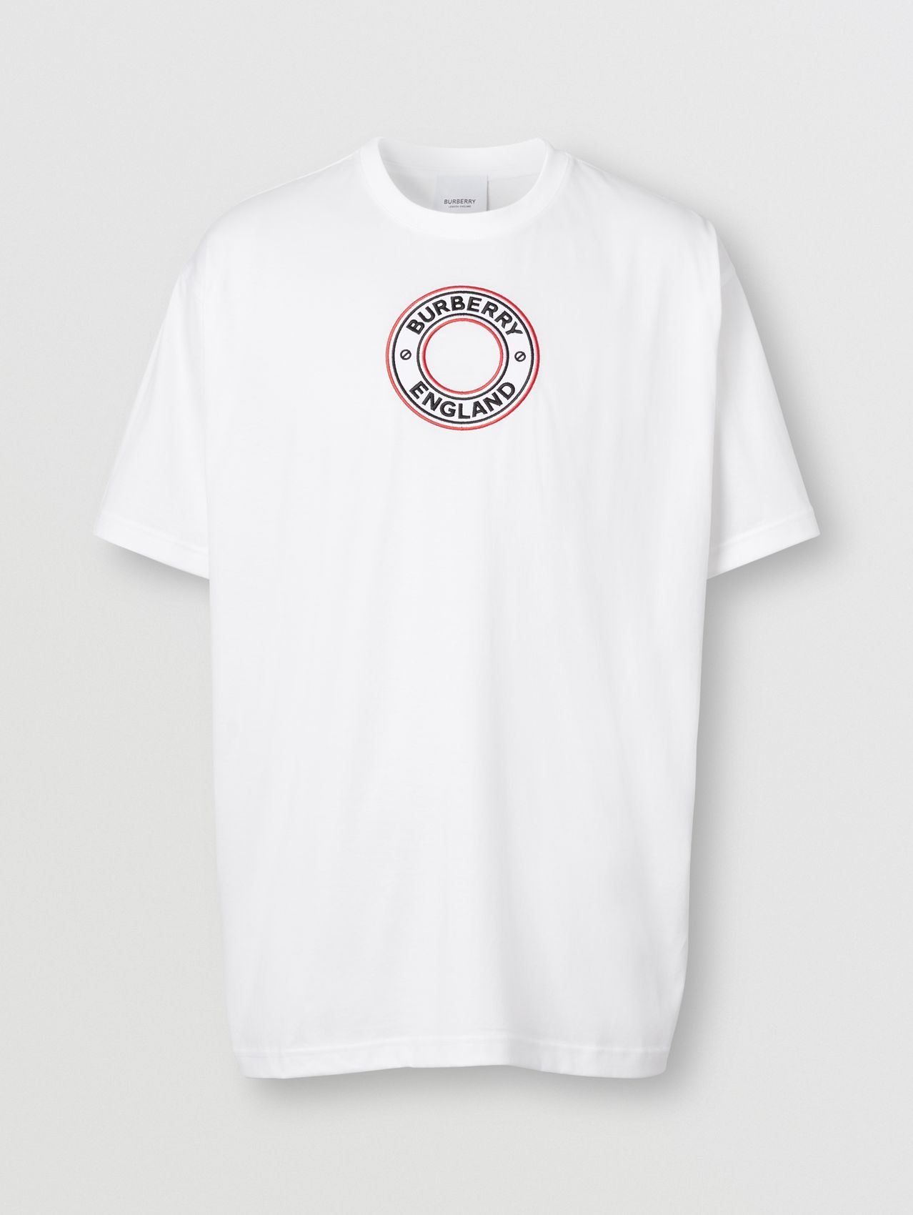 Logo Graphic Appliqué Cotton Oversized T-shirt in White