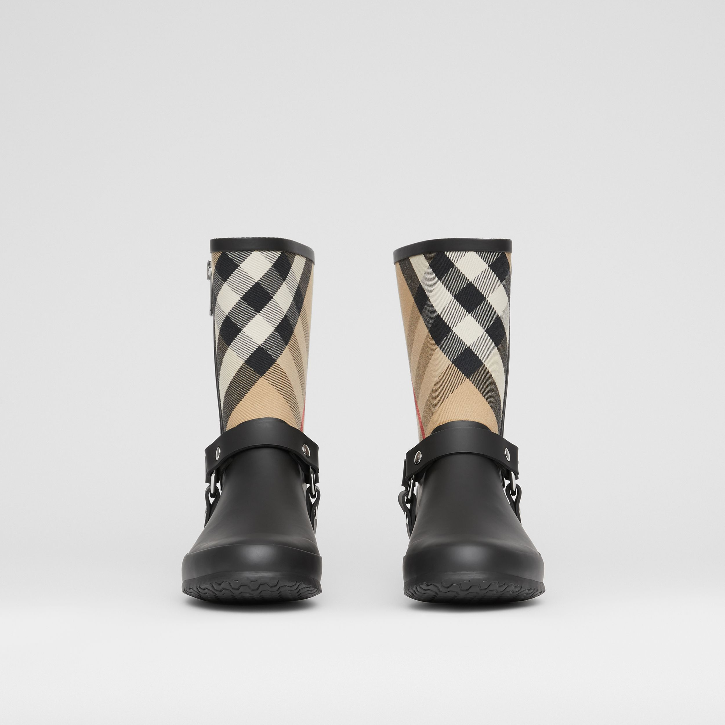 Strap Detail House Check Rubber Rain Boots in Black/archive Beige - Women | Burberry - 4