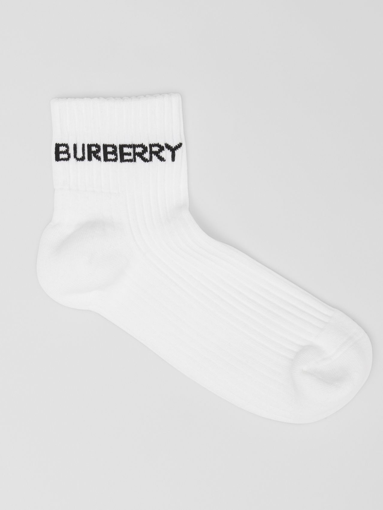 Logo Intarsia Technical Stretch Cotton Ankle Socks in White