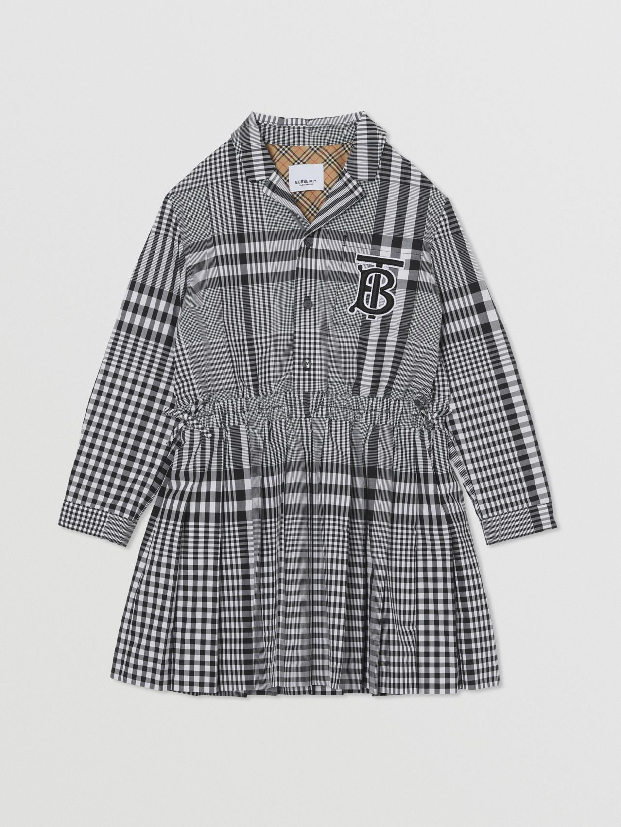 Long-sleeve Monogram Motif Check Cotton Dress in Black