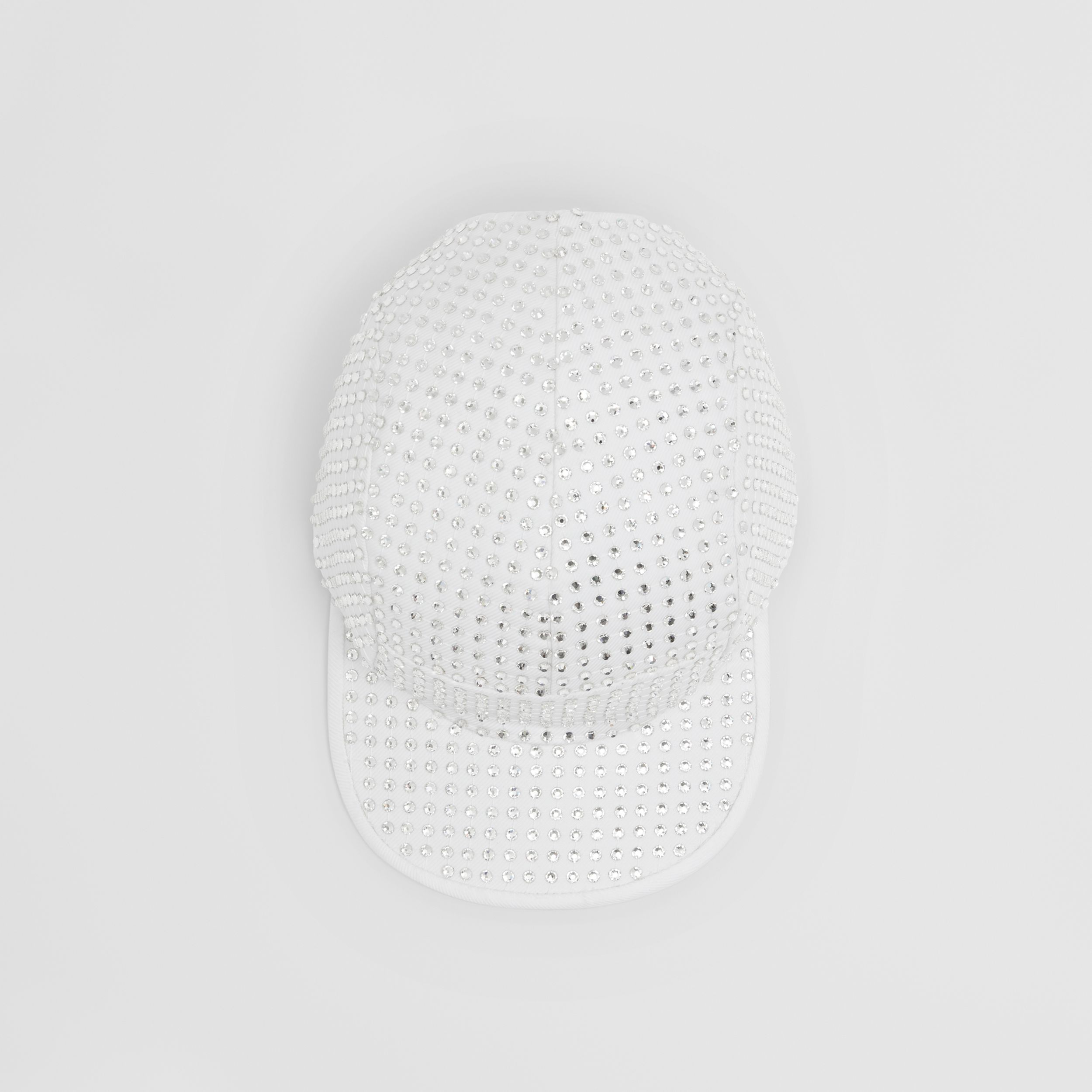 Crystal Mesh Detail Cotton Twill Cap in Optic White | Burberry Canada - 3