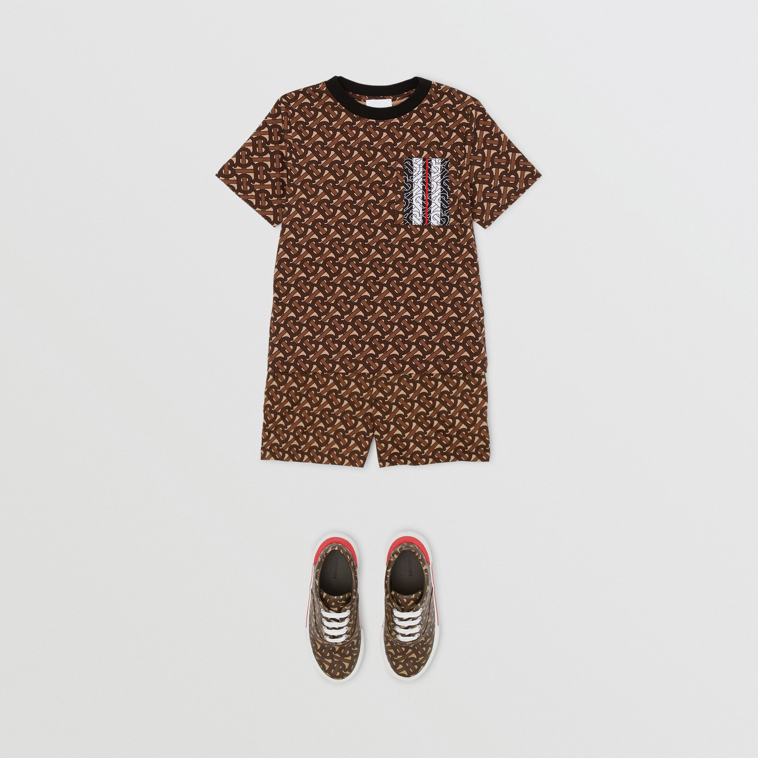 Monogram Stripe Print Cotton T-shirt in Bridle Brown | Burberry - 4
