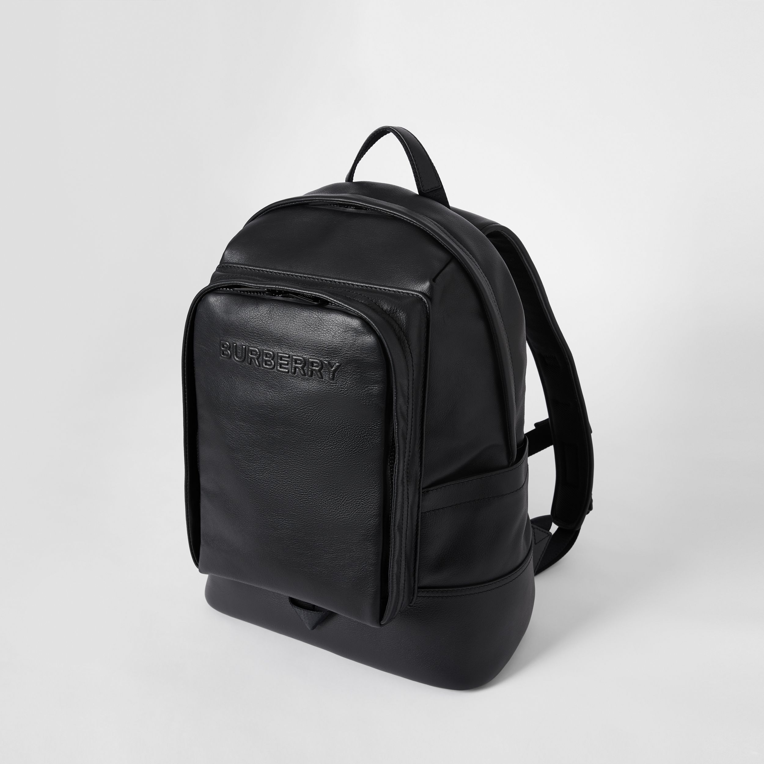 Large Logo Embossed Leather Backpack in Black - Men | Burberry - 4
