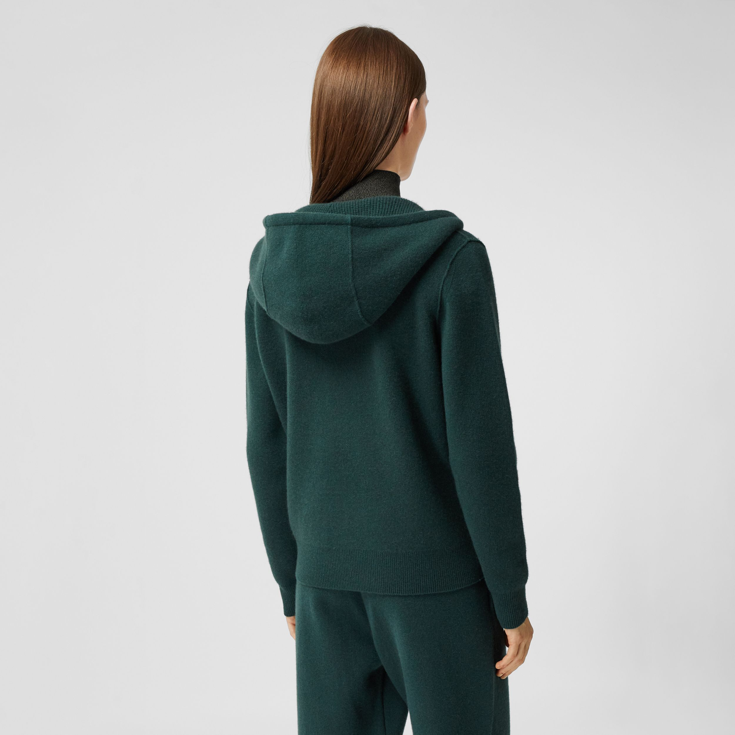 Monogram Motif Cashmere Blend Hooded Top in Bottle Green - Women | Burberry - 3